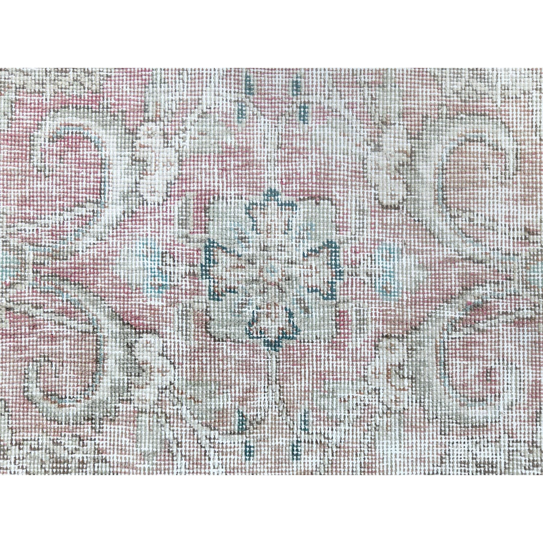 "5'3""x8'5"" Red Clean Organic Wool Bohemian Sheared Low Old Persian Tabriz Medallion Design Hand Knotted Oriental Rug"