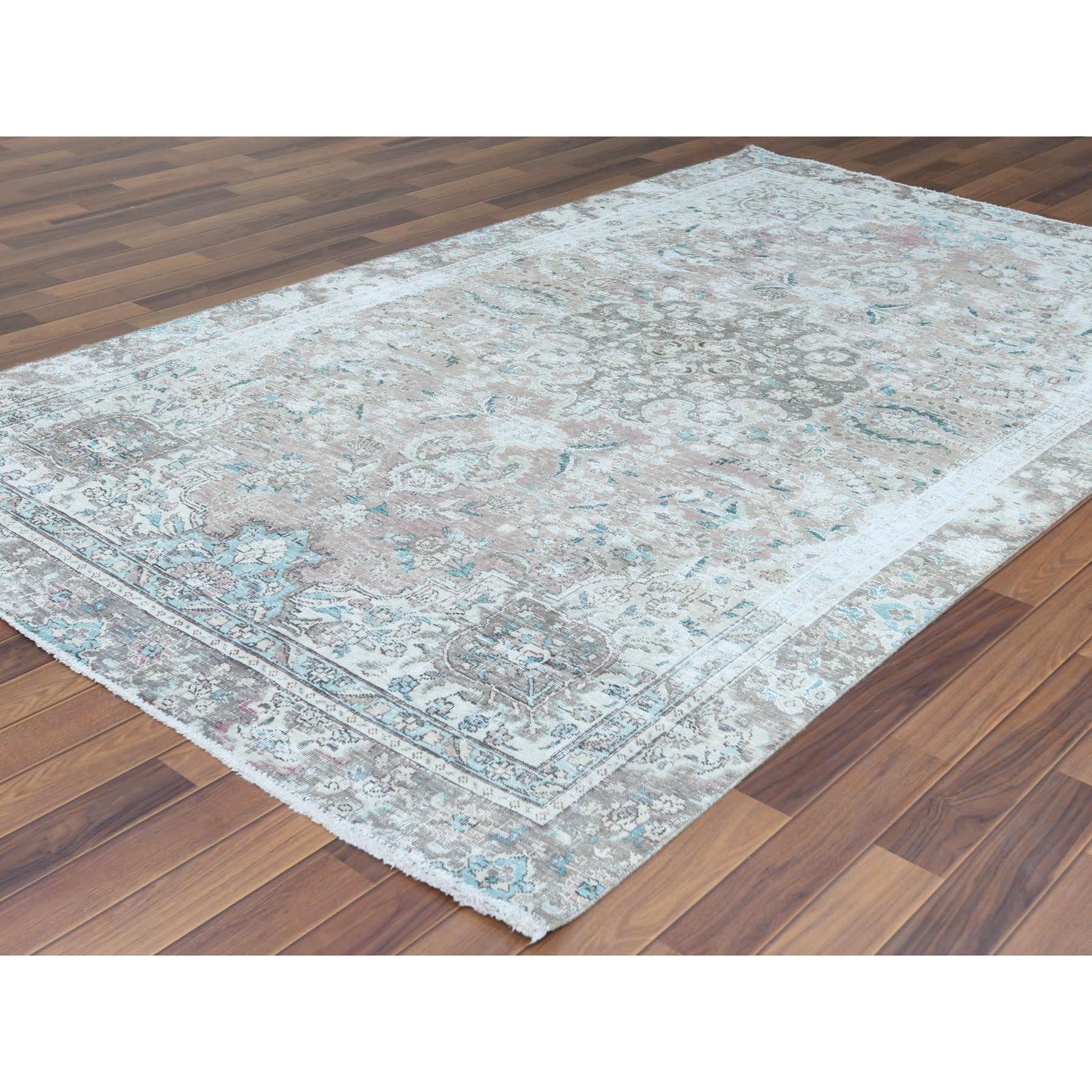 """5'10""""x9'5"""" Red Clean Pure Wool Bohemian Worn Down Vintage Look Persian Tabriz Medallion Design Hand Knotted Oriental Rug"""