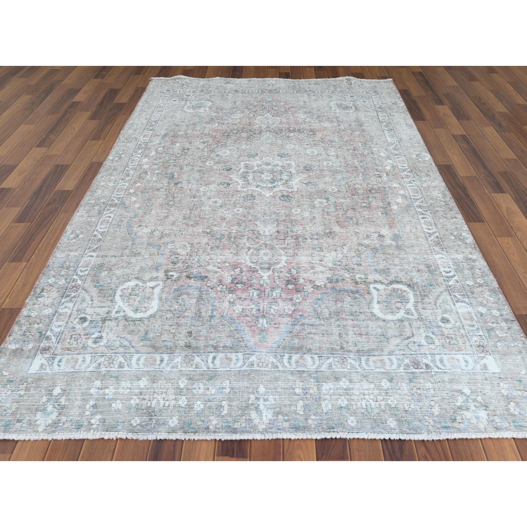 "5'10""x9'2"" Red Clean Organic Wool Bohemian Worn Down Semi Antique Persian Tabriz Medallion Design Hand Knotted Oriental Rug"