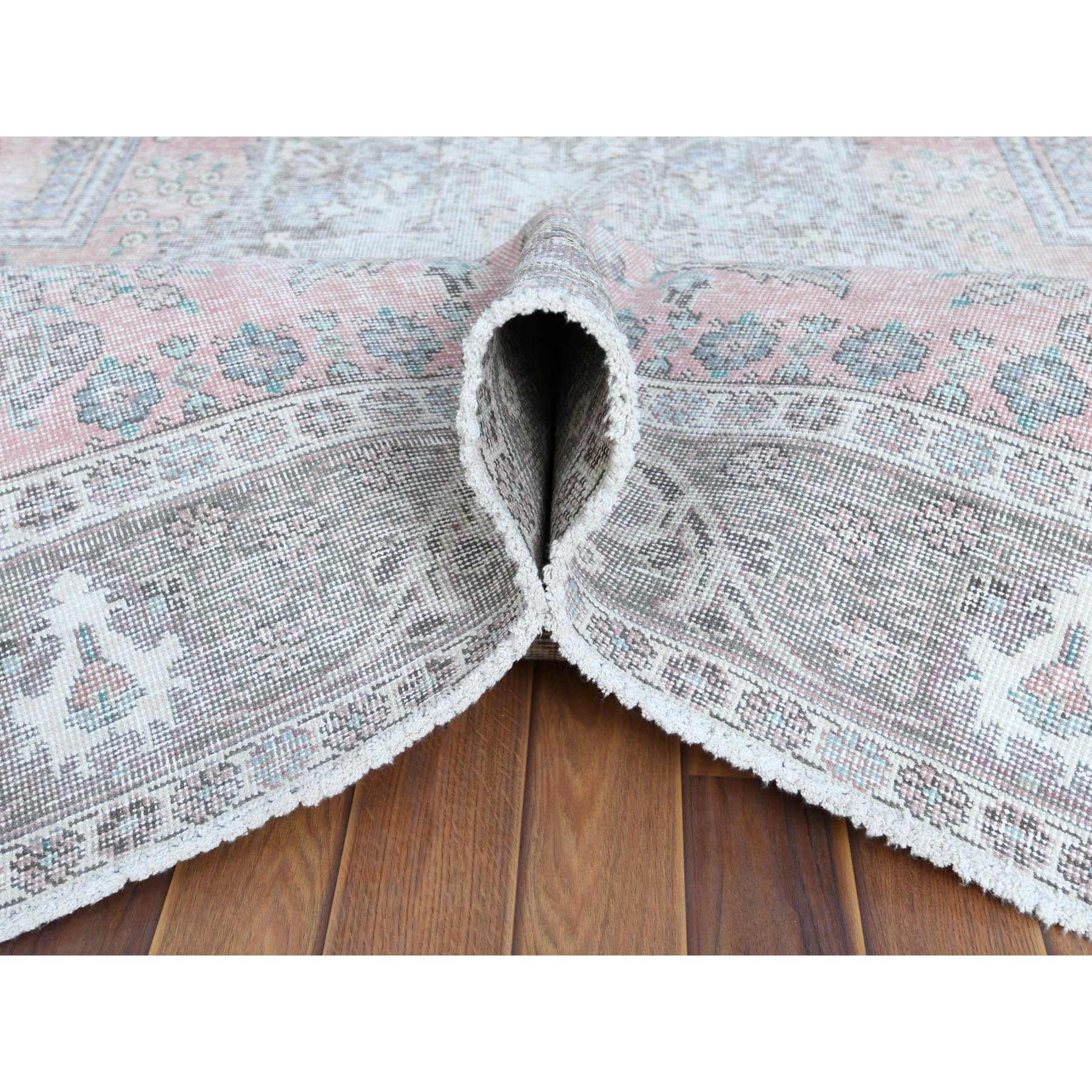 "6'3""x9'7"" Pink Clean Organic Wool Bohemian Distressed Vintage Look Persian Tabriz Medallion Design Hand Knotted Oriental Rug"