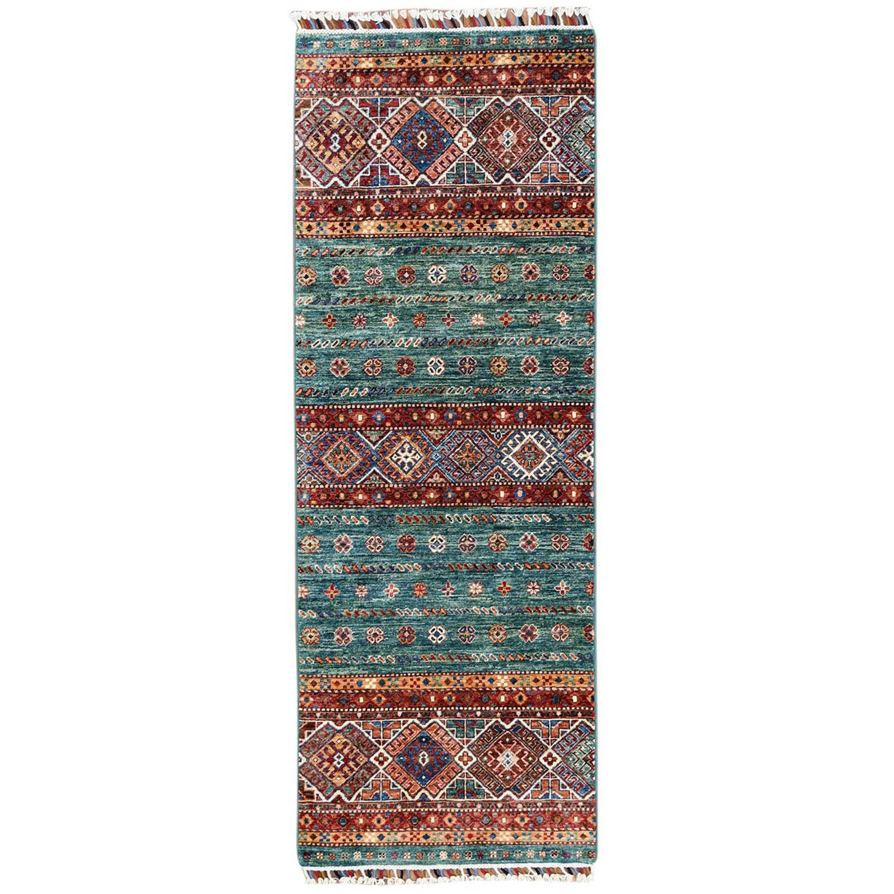 "2'6""X6'10"" Green With Colorful Tassles Hand Knotted Super Kazak Khorjin Design Organic Wool Oriental Runner Rug moa60ba9"