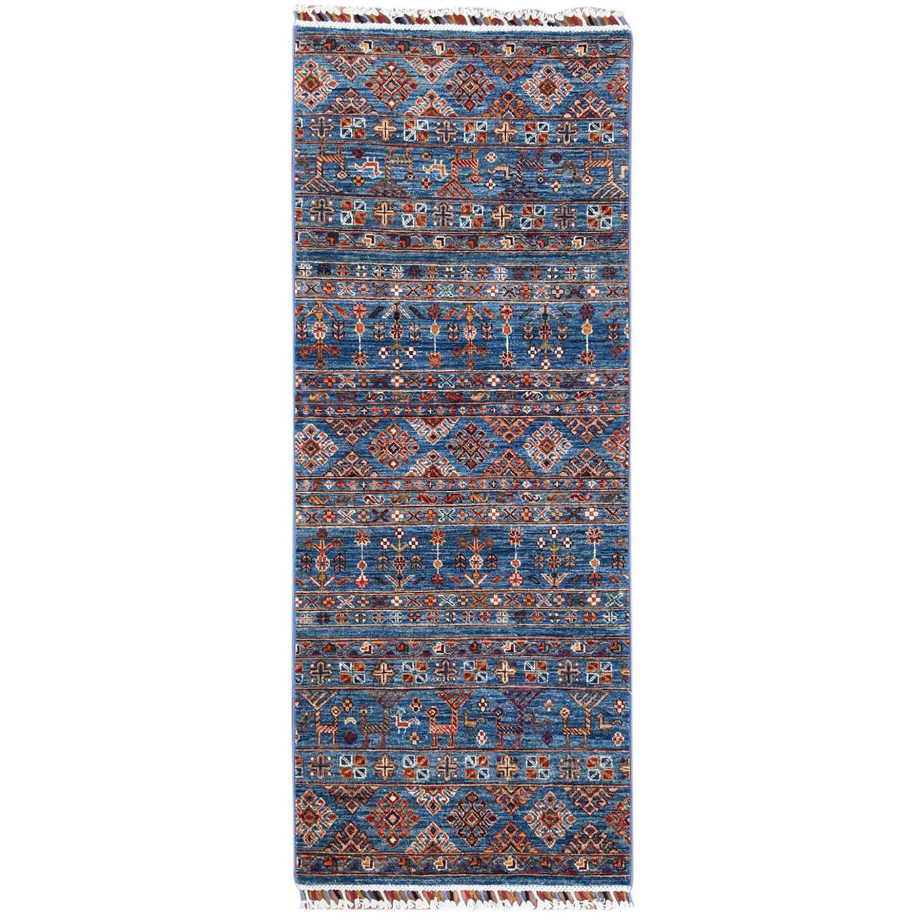 "2'6""X6'5"" Hand Knotted Denim Blue With Colorful Tassles Super Kazak Khorjin Design Pure Wool Oriental Runner Rug moa60bb0"