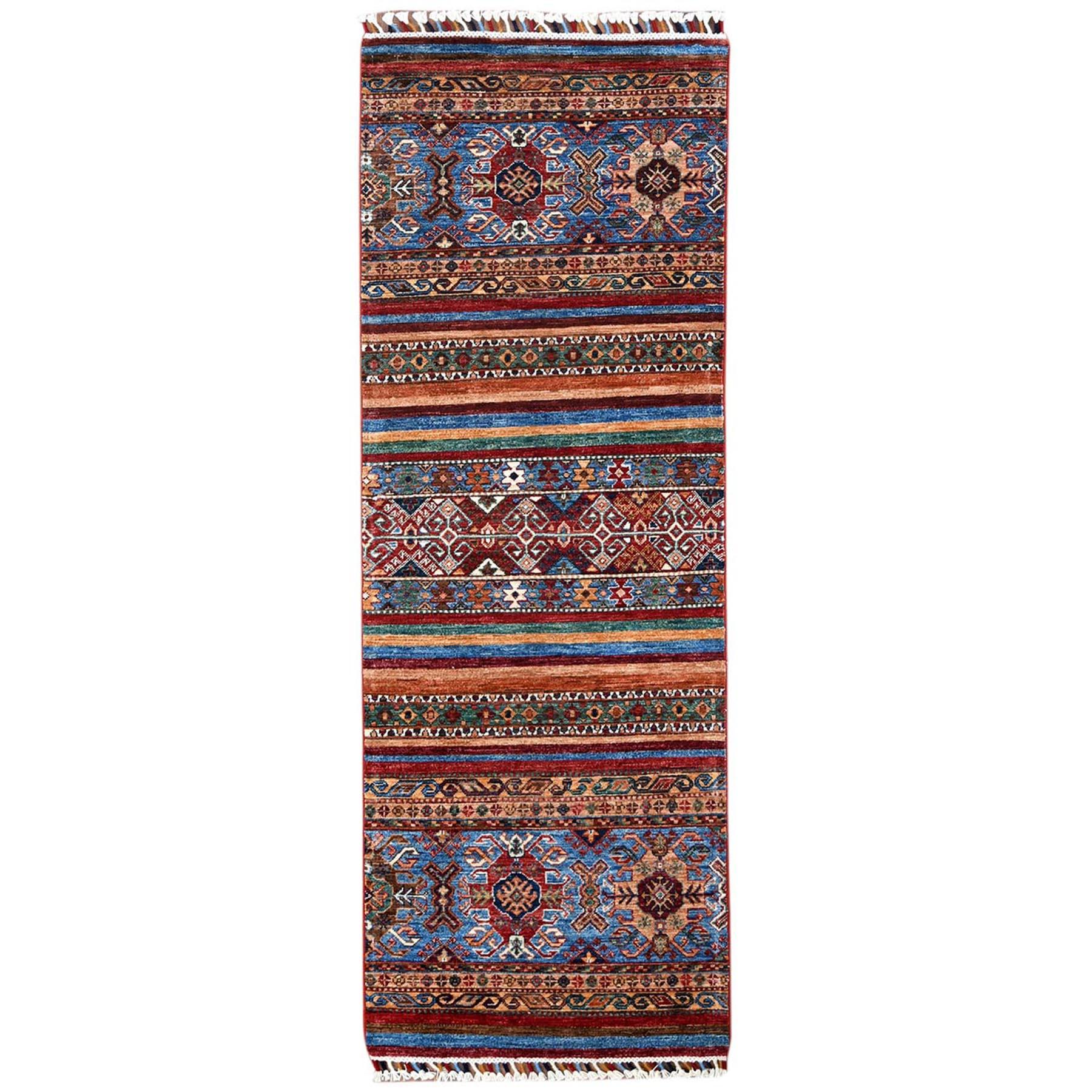"2'5""X6'10"" Hand Knotted Red Super Kazak Khorjin Design With Colorful Tassles Natural Wool Oriental Runner Rug moa60bbd"
