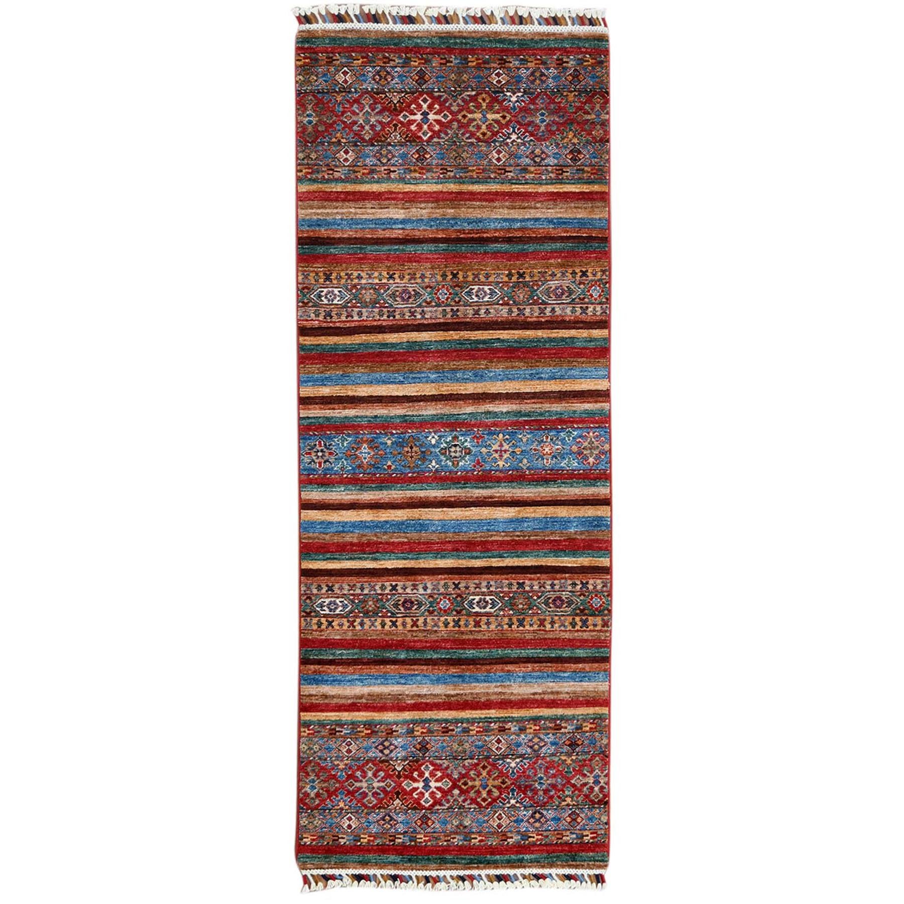 """2'5""""X6'6"""" Red Hand Knotted Super Kazak Khorjin Design With Colorful Tassles Organic Wool Oriental Runner Rug moa60bbe"""