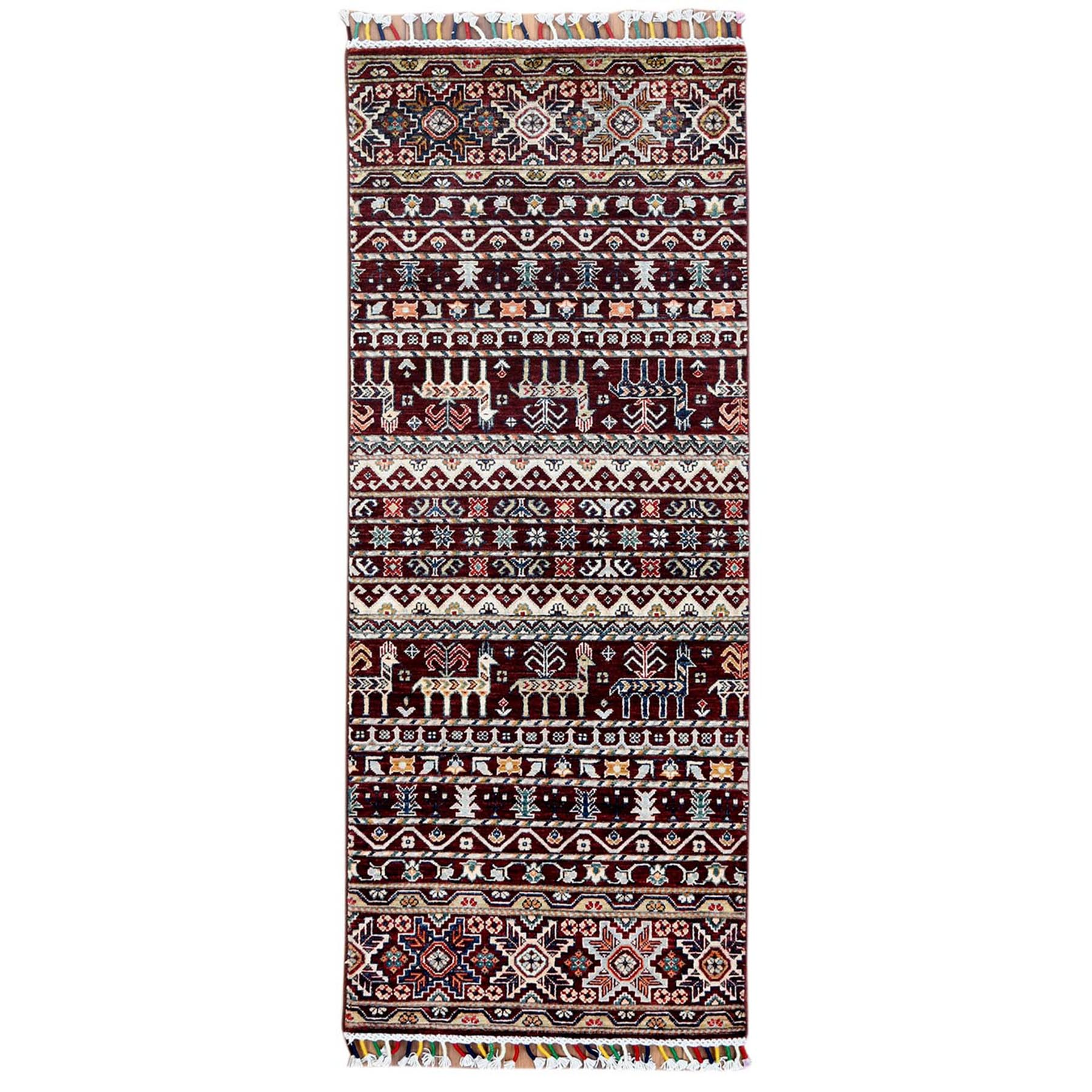 """2'6""""X6'3"""" Red With Colorful Tassles Hand Knotted Super Kazak Khorjin Design Pure Wool Oriental Runner Rug moa60bb6"""
