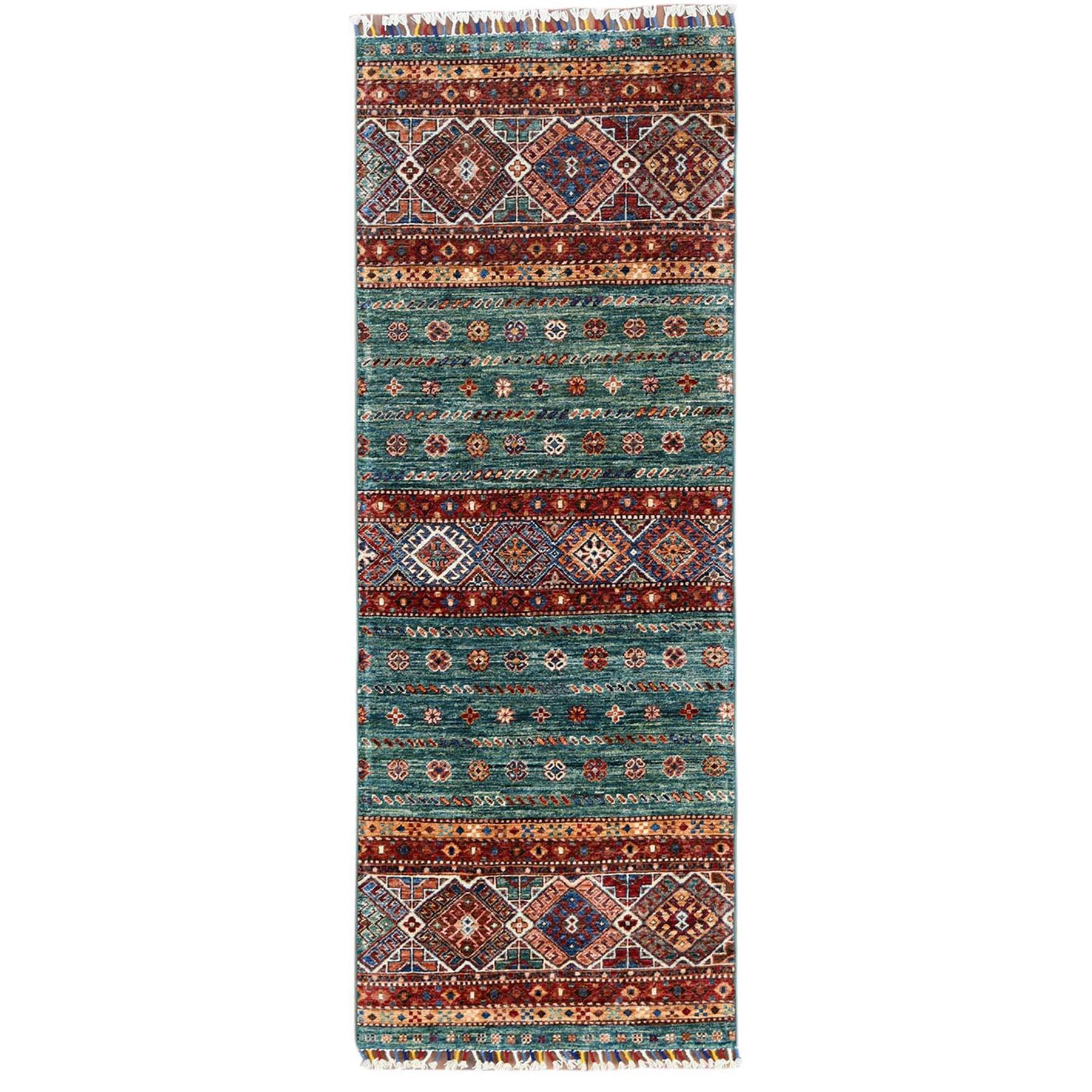 "2'6""X6'10"" Hand Knotted Teal Super Kazak Khorjin Design With Colorful Tassles Pure Wool Oriental Runner Rug moa60bb7"