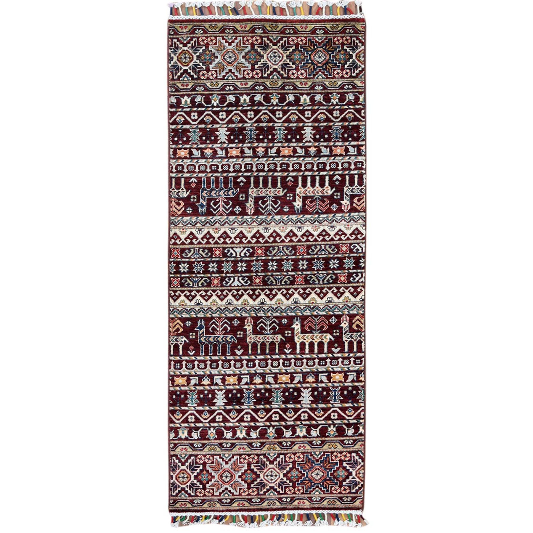 """2'5""""X6'3"""" Hand Knotted Red With Colorful Tassles Super Kazak Khorjin With Deers Design Pure Wool Oriental Runner Rug moa60bb9"""
