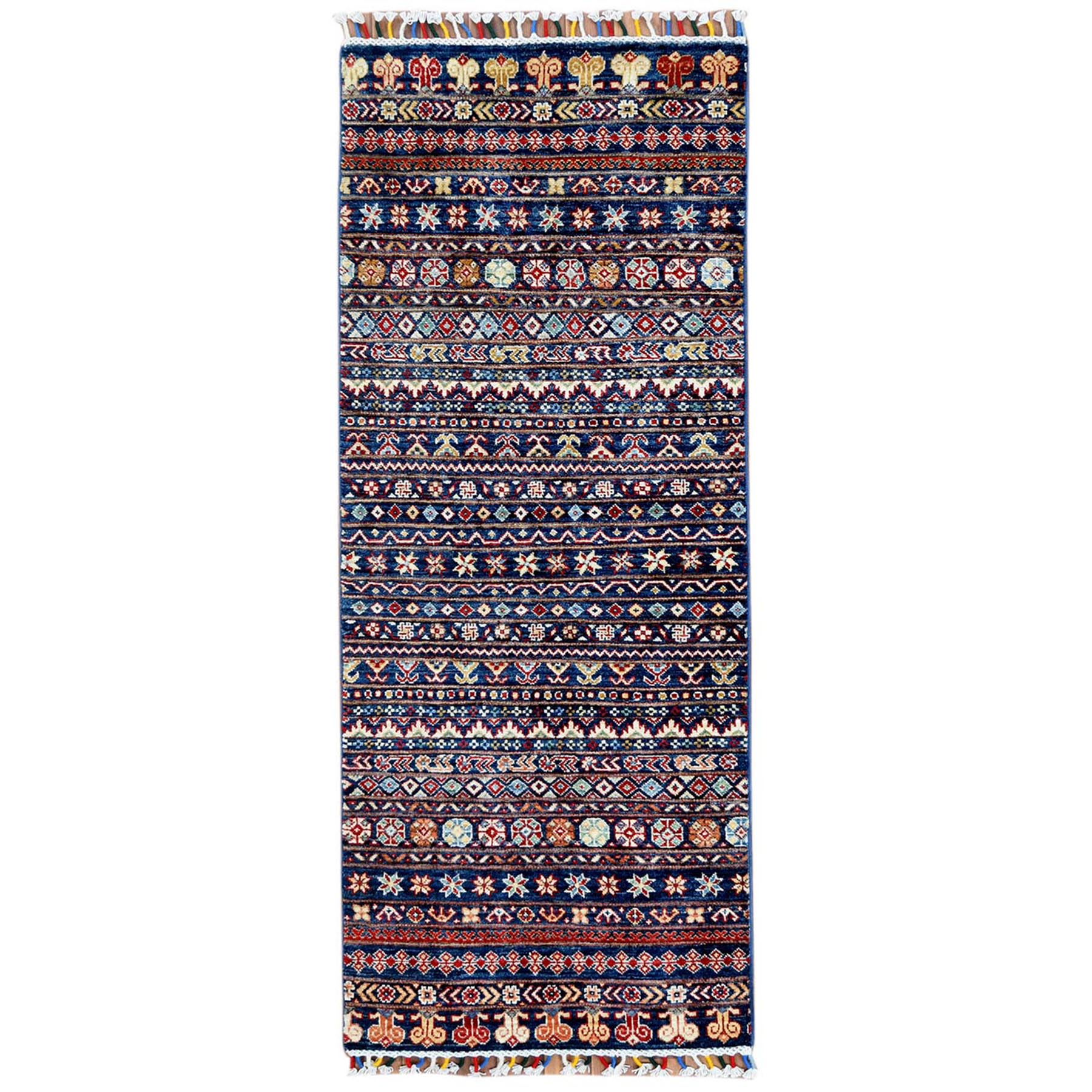 "2'7""X6'5"" Organic Wool Navy Blue With Colorful Tassels Hand Knotted Super Kazak Khorjin Design Oriental Runner Rug moa60bc0"