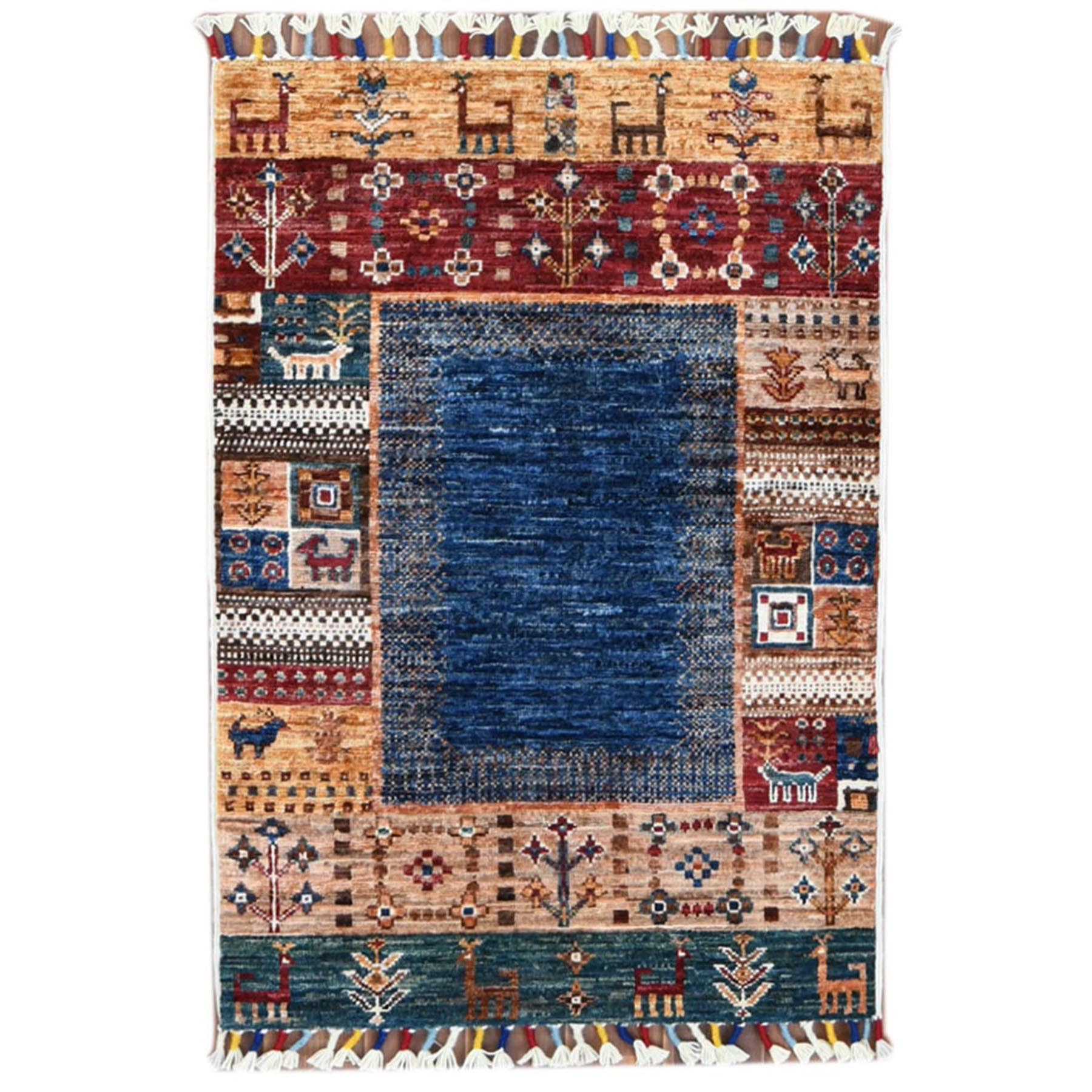 2'x3' Hand Knotted Blue Little Deers Super Kazak Khorjin With Kashkuli Design Natural Wool Oriental Rug