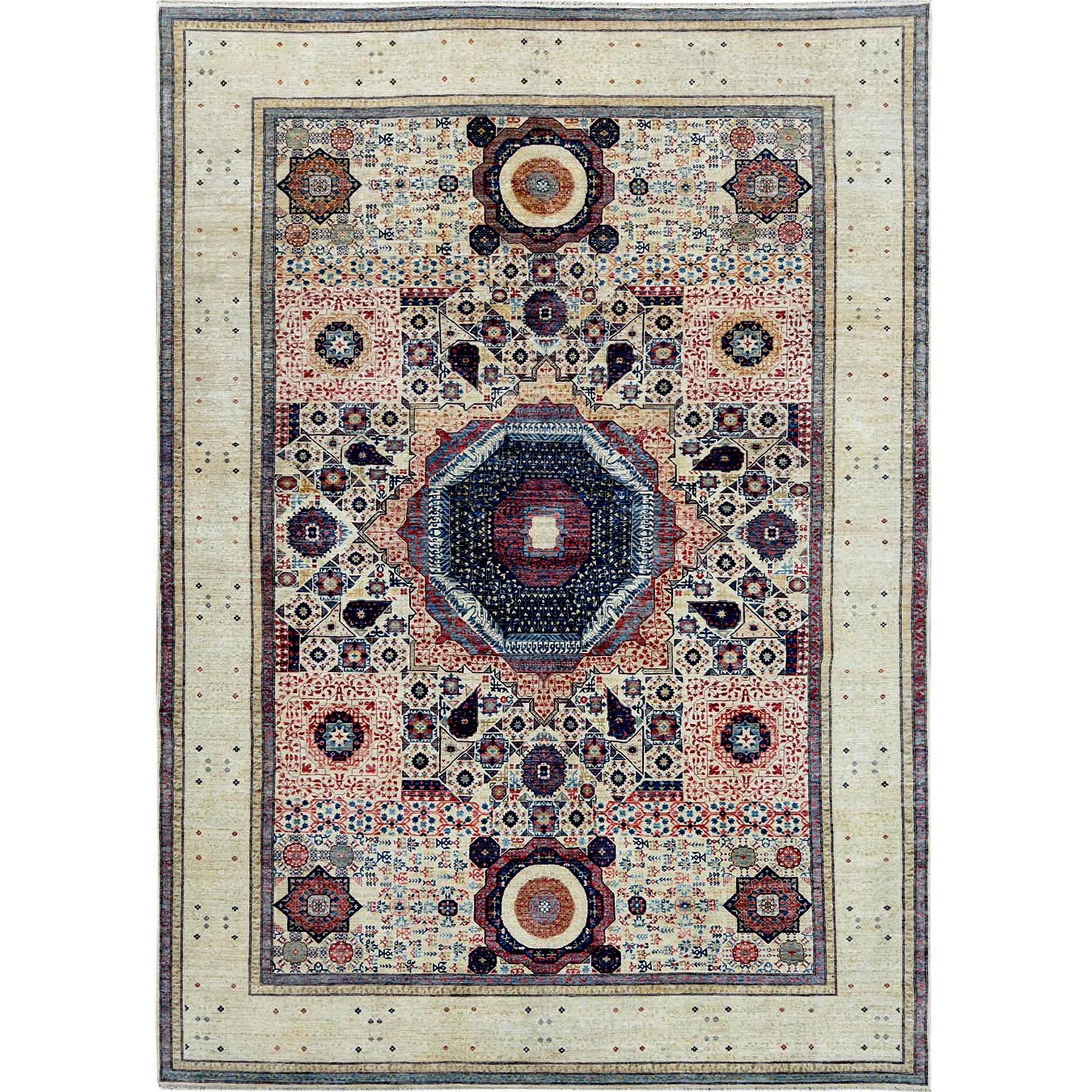 "9'8""x13'6"" Ivory Super Fine Peshawar Mamluk Design With Denser Weave Shiny Wool Even Pile Hand Knotted Oriental Rug"