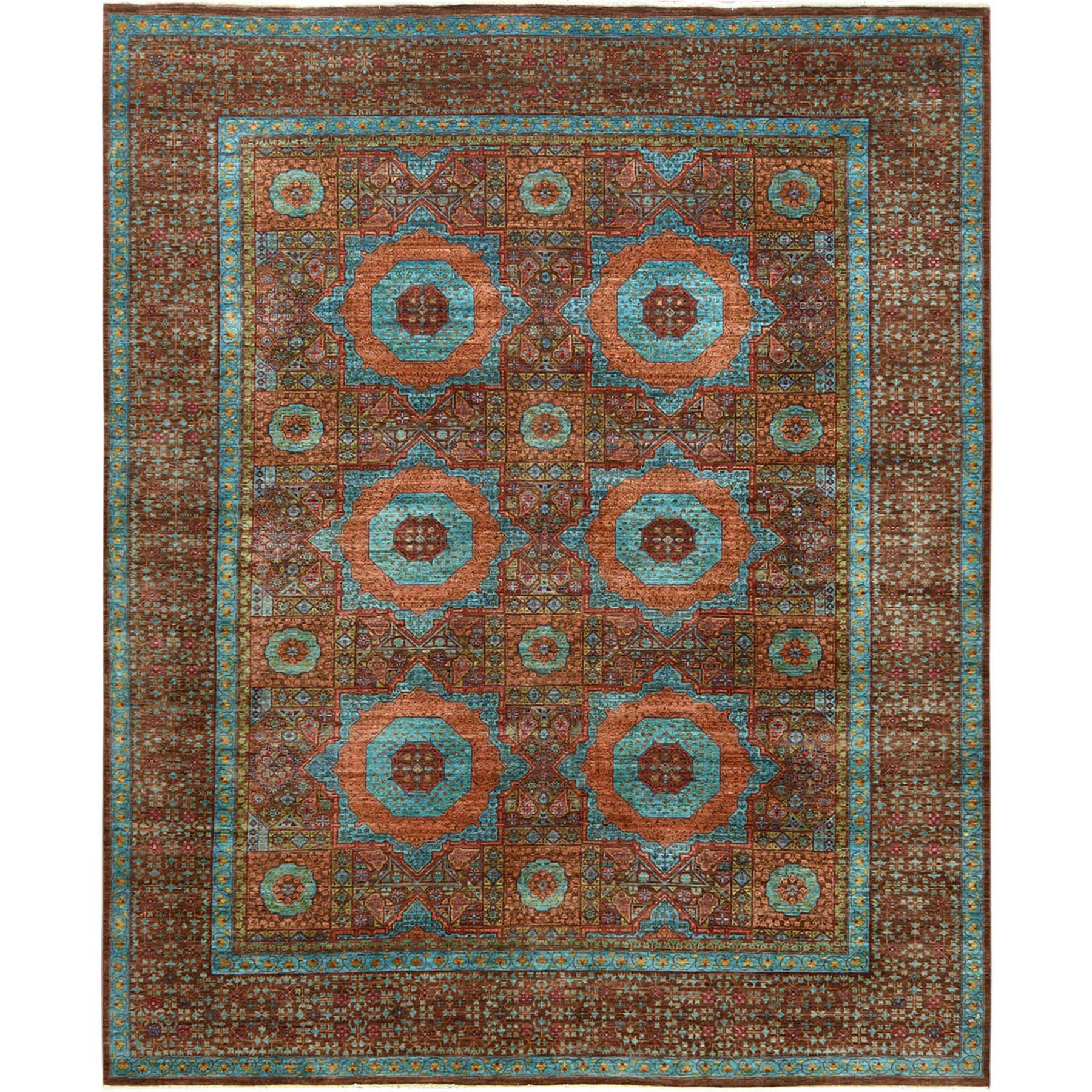 "9'x11'4"" Brown Super Fine Peshawar Mamluk Design With Denser Weave Shiny Wool Even Pile Hand Knotted Oriental Rug"