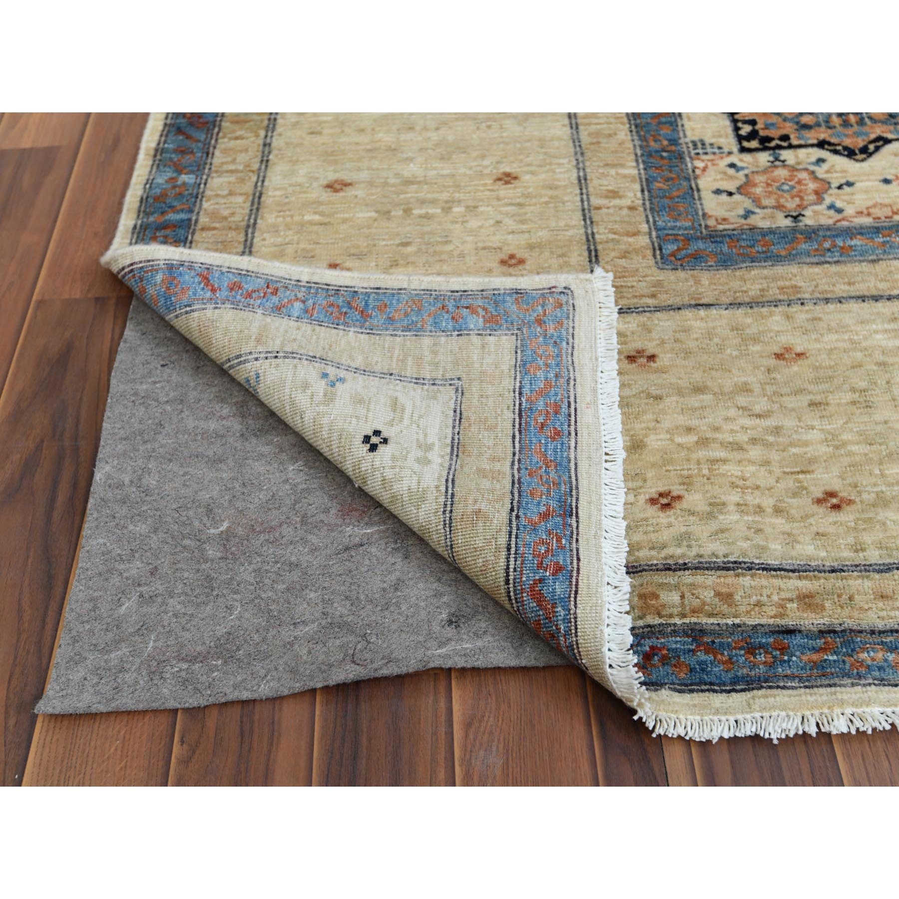 "11'9""x14'3"" Oversized Ivory Shiny Wool Super Fine Peshawar Mamluk Design with Denser Weave Even Pile Hand Knotted Oriental Rug"