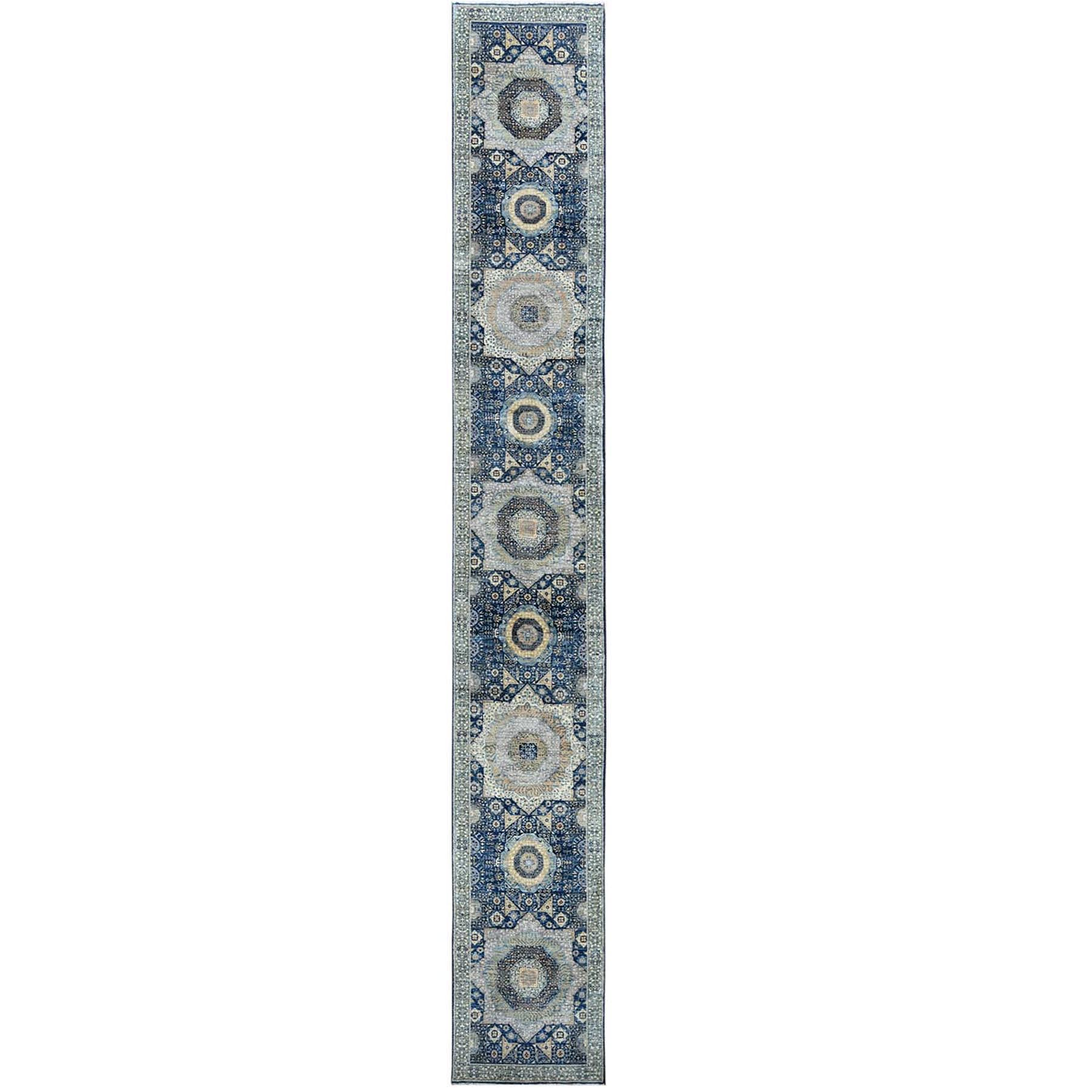 "2'5""x17'10"" Blue Super Fine Peshawar Mamluk Design With Denser Weave Shiny Wool Even Pile Hand Knotted XL Runner Oriental Rug"