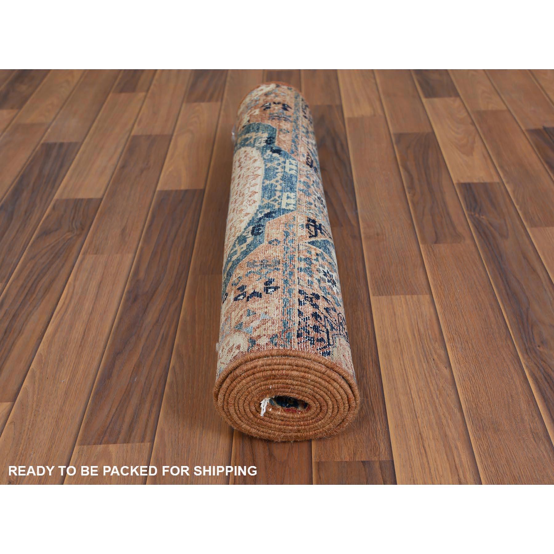 "2'6""x9'6"" Brown Super Fine Peshawar Mamluk Design with Denser Weave Shiny Wool Even Pile Hand Knotted Oriental Rug"