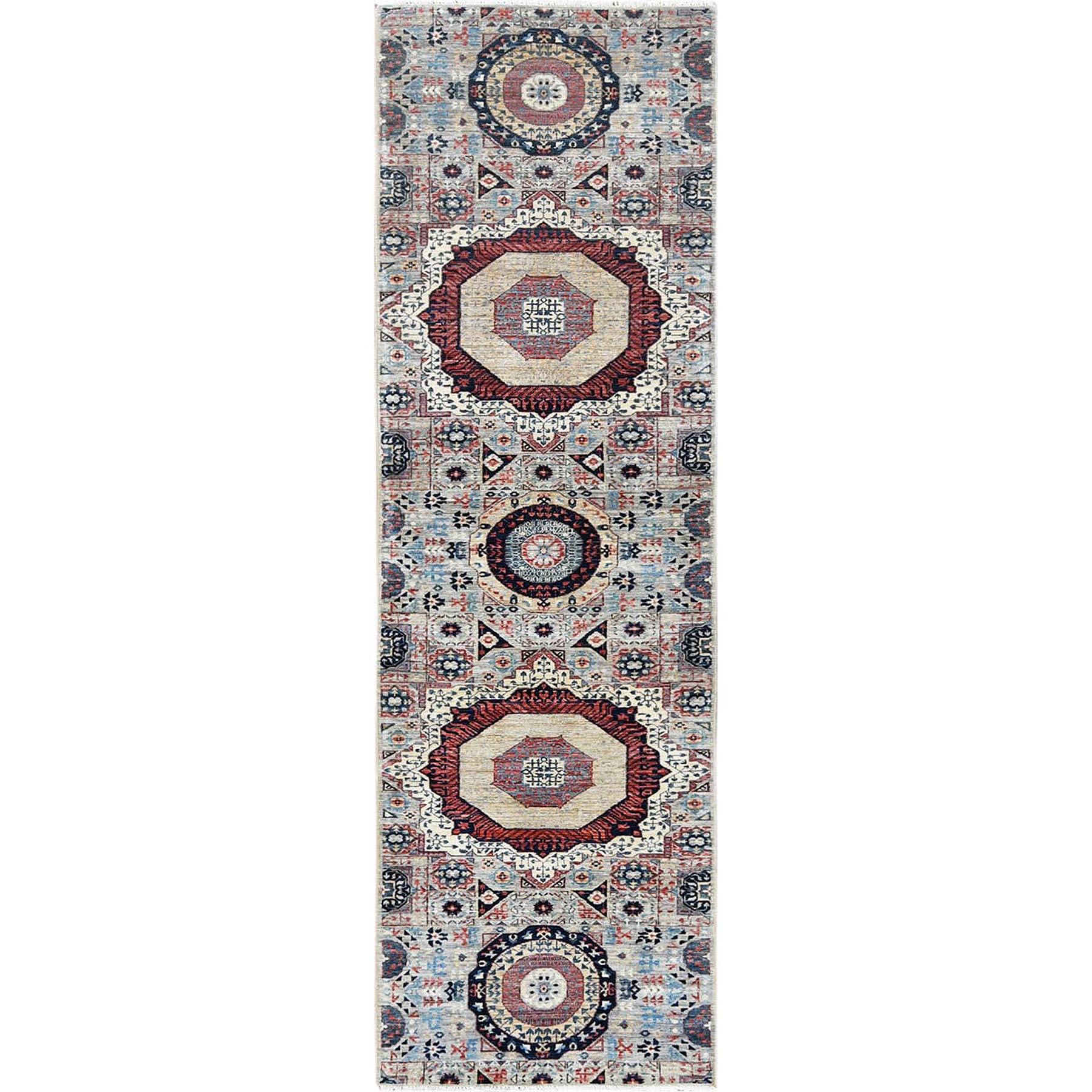 "2'5""X9'7"" Gray Super Fine Peshawar Mamluk Design With Denser Weave Shiny Wool Even Pile Hand Knotted Runner Oriental Rug moa60b8e"