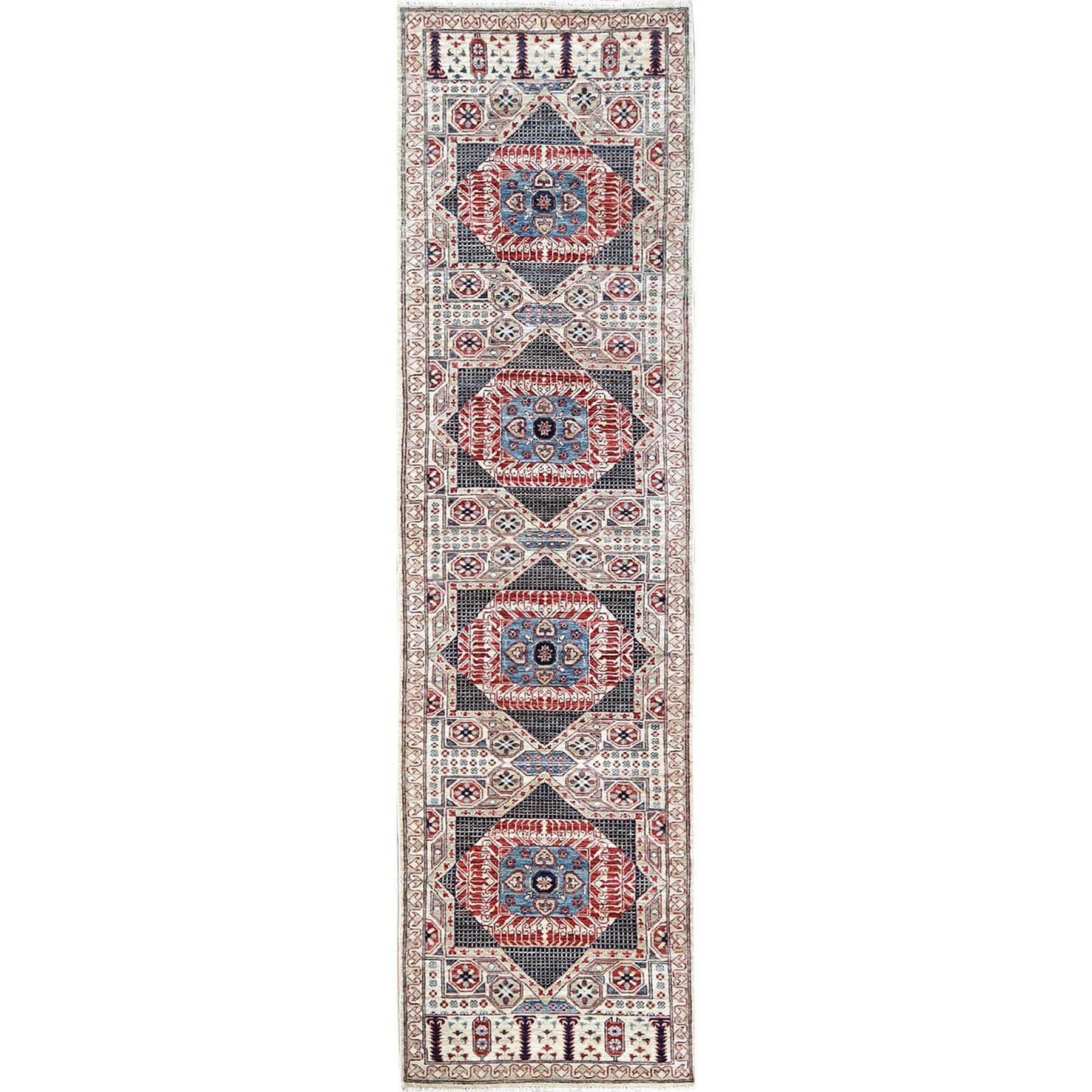 "2'7""x9'9"" Super Fine Peshawar Mamluk Design With Denser Weave Runner Shiny Wool Even Pile Hand Knotted Oriental Rug"
