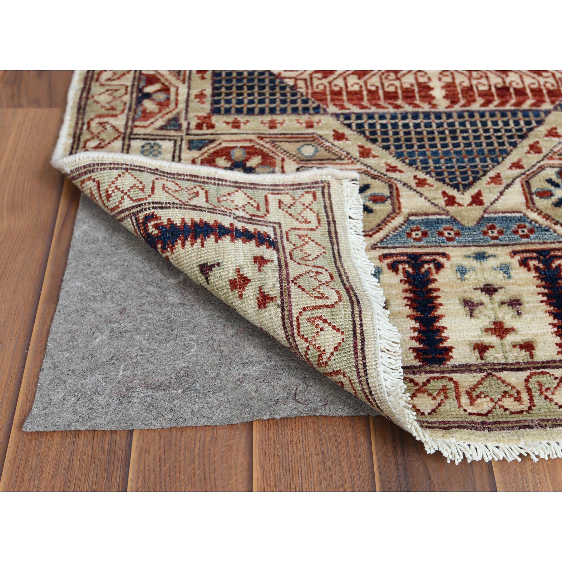"2'7""x9'9"" Super Fine Peshawar Mamluk Design With Denser Weave Runner Shiny Wool Even Pile Hand Knotted Oriental Rug"