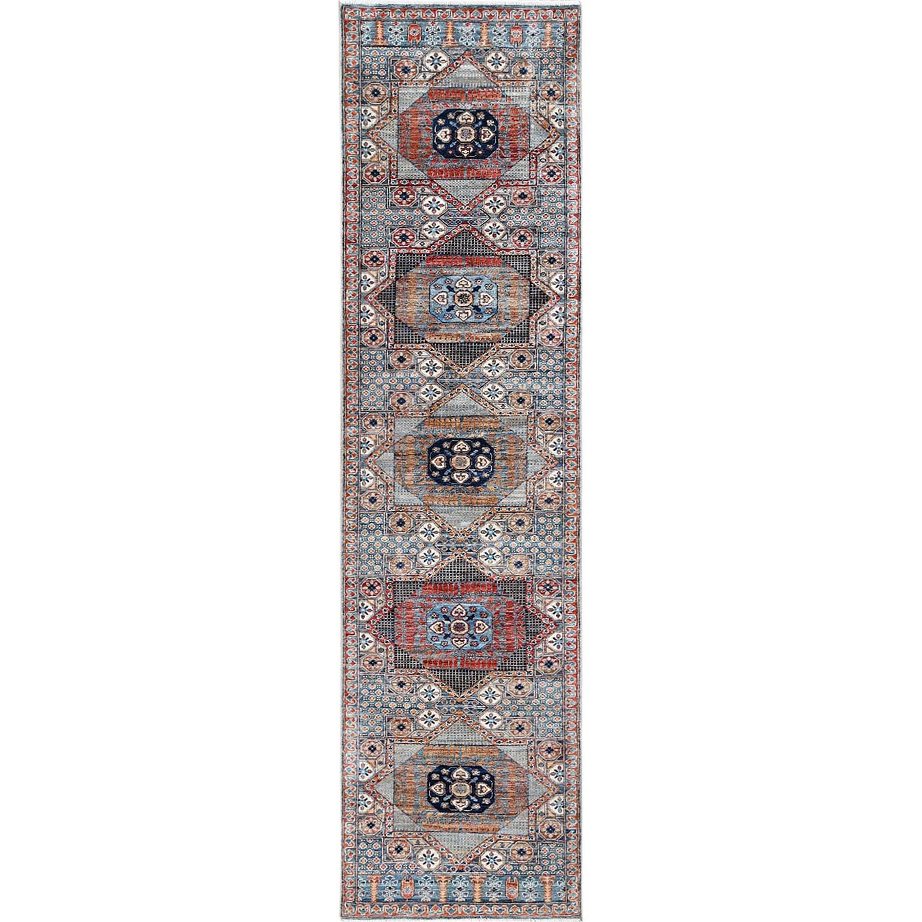 "2'6""x9'10"" Blue Super Fine Peshawar Mamluk Design with Denser Weave Shiny Wool Even Pile Hand Knotted Runner Oriental Rug"