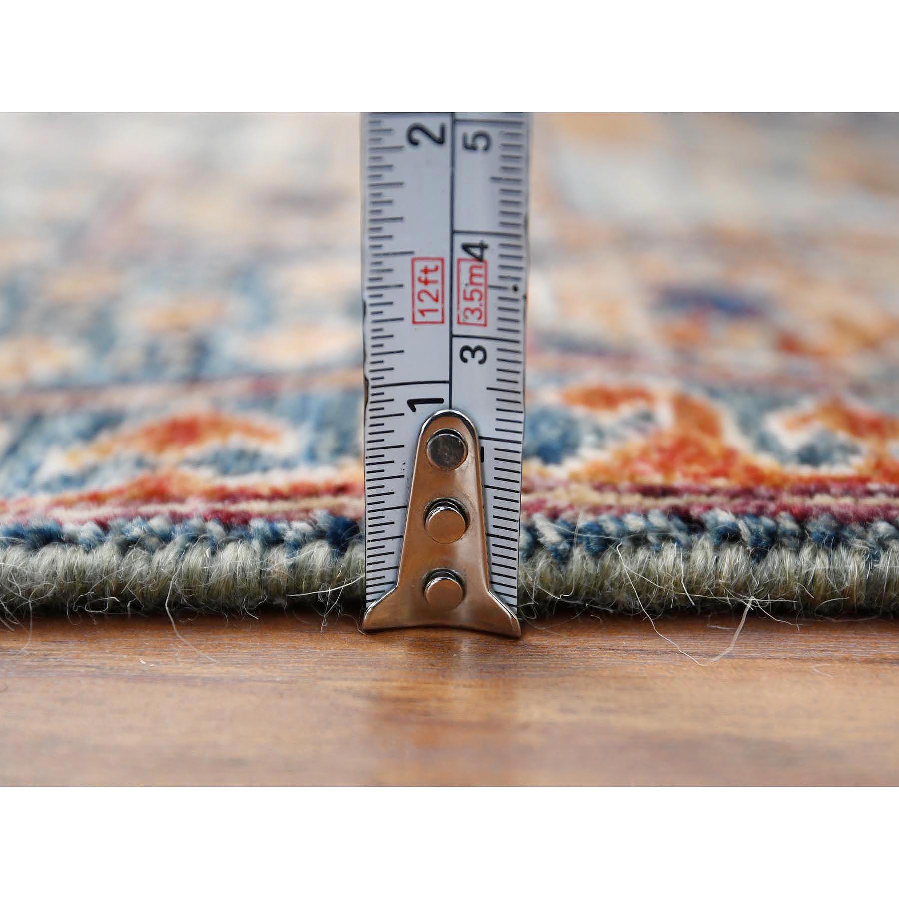 "2'6""x9'10"" Blue Super Fine Peshawar Mamluk Design with Denser Weave Shiny Wool Even Pile Hand Knotted Runner Oriental Rug"