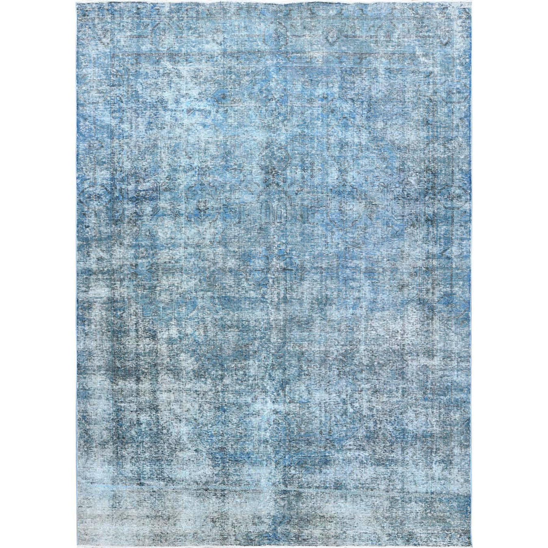 """9'0""""X12'4"""" Blue Clean Pure Wool Bohemian Worn Down Vintage Look Persian Tabriz All Over Design Hand Knotted Oriental Rug moa60cbc"""