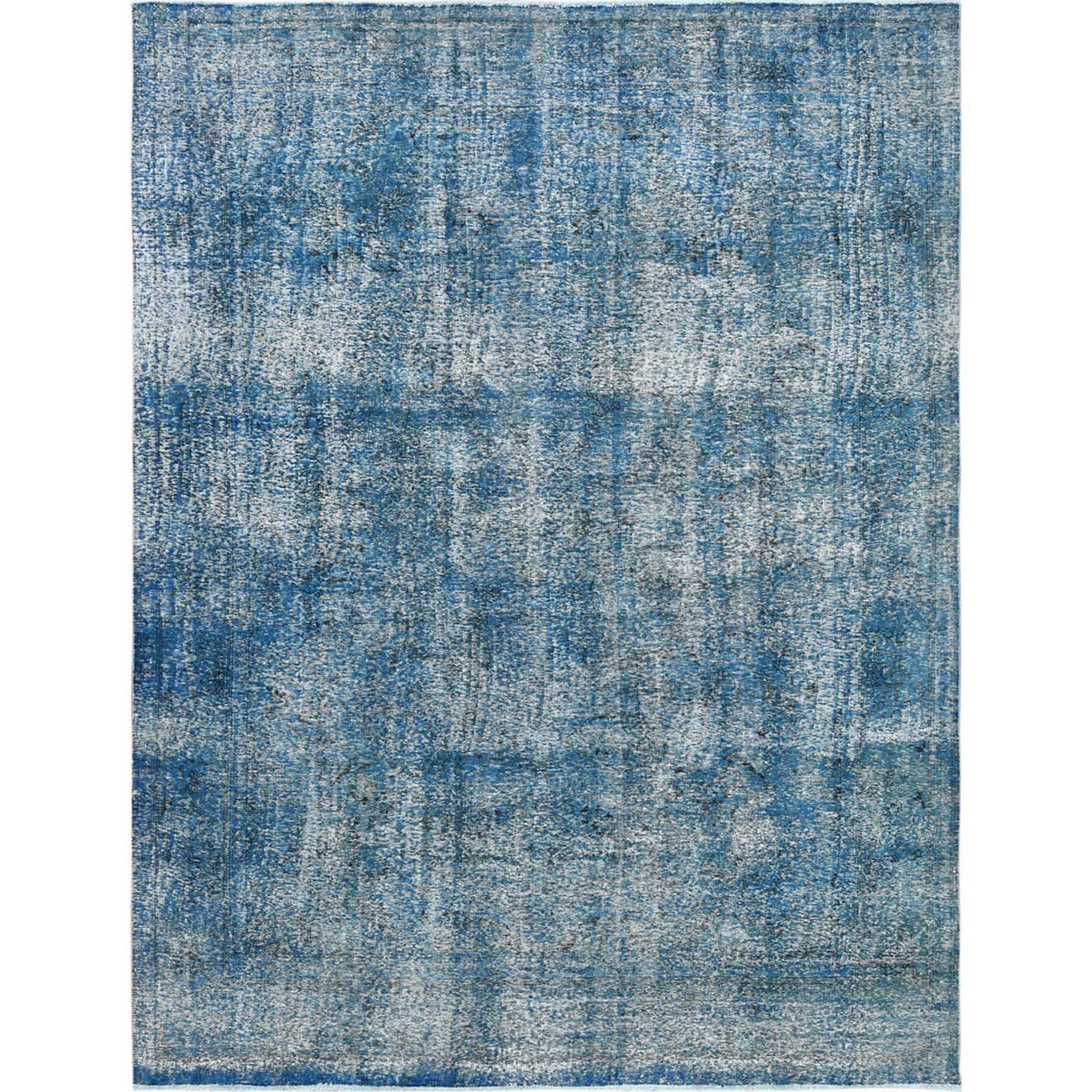 """9'9""""X12'9"""" Blue Clean Pure Wool Bohemian Worn Down Vintage Look Persian Tabriz All Over Design Hand Knotted Oriental Rug moa60cb6"""