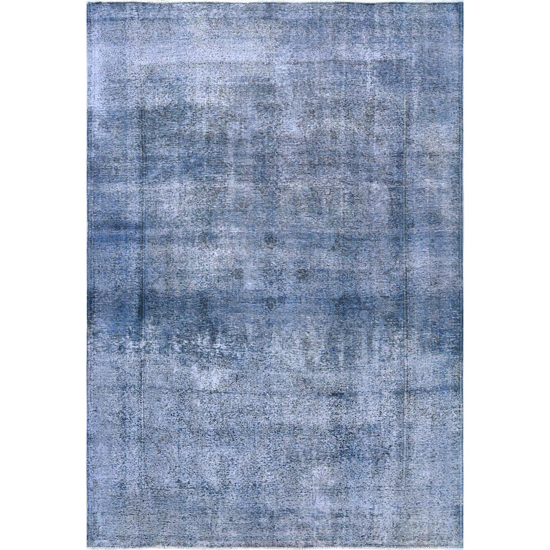 """8'7""""X11'2"""" Blue Clean Pure Wool Bohemian Worn Down Vintage Look Persian Tabriz All Over Design Hand Knotted Oriental Rug moa60cca"""
