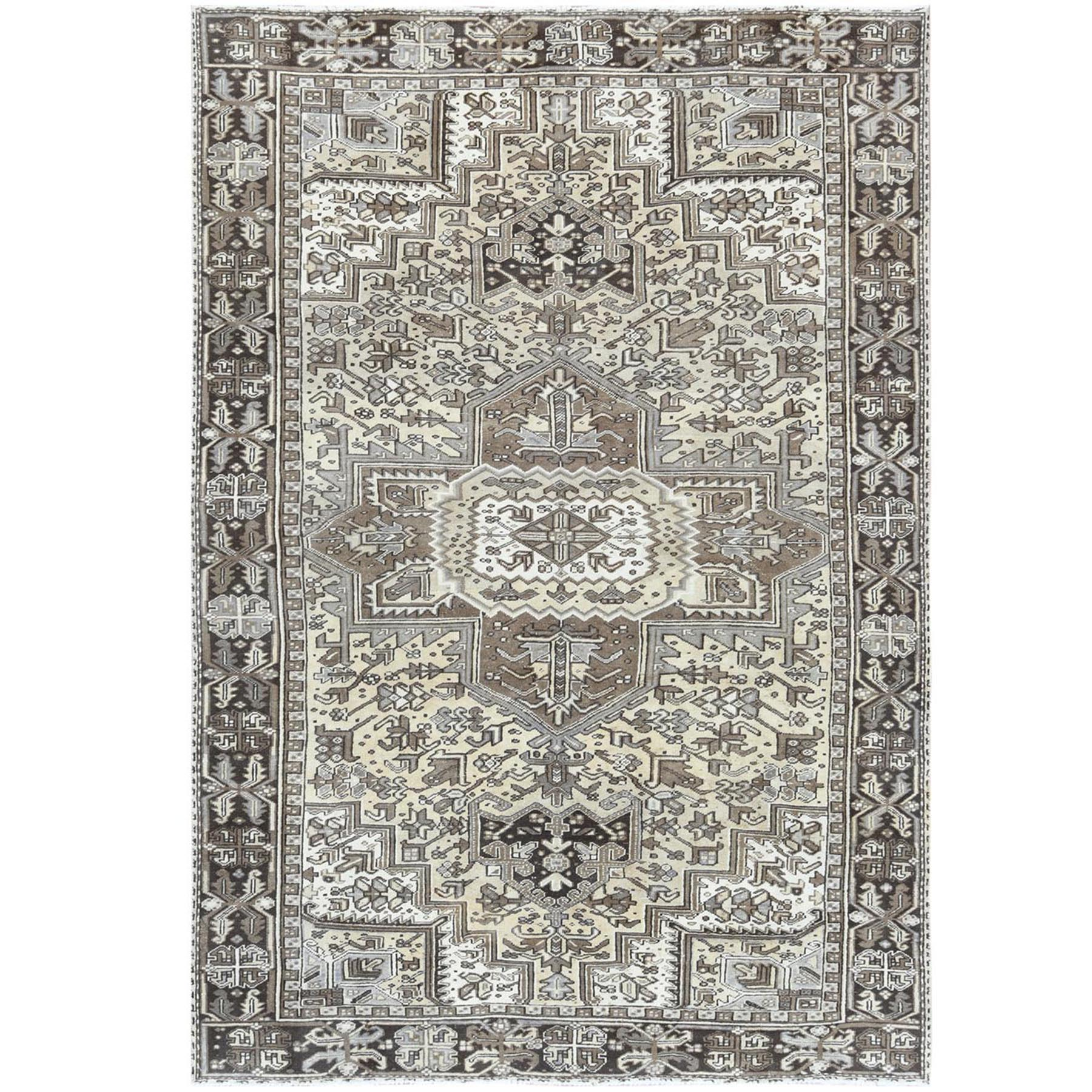 """7'10""""x11'5"""" Semi Antique Washed Out Ivory Persian Heriz Cropped Thin Organic Wool Hand Knotted Oriental Rug"""