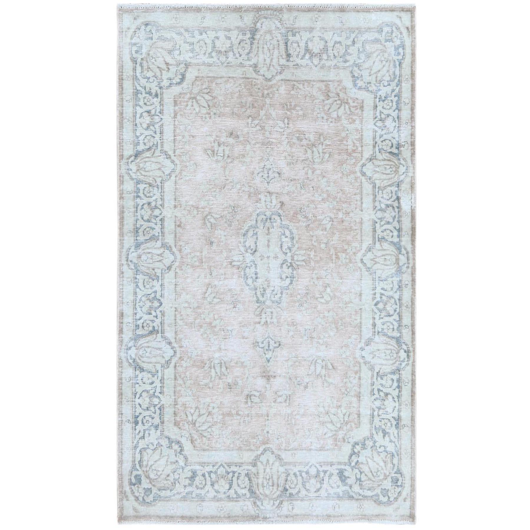 "3'10""x6'5"" Semi Antique Light Brown Persian Heriz Worn Down Hand Knotted Pure Wool Oriental Rug"