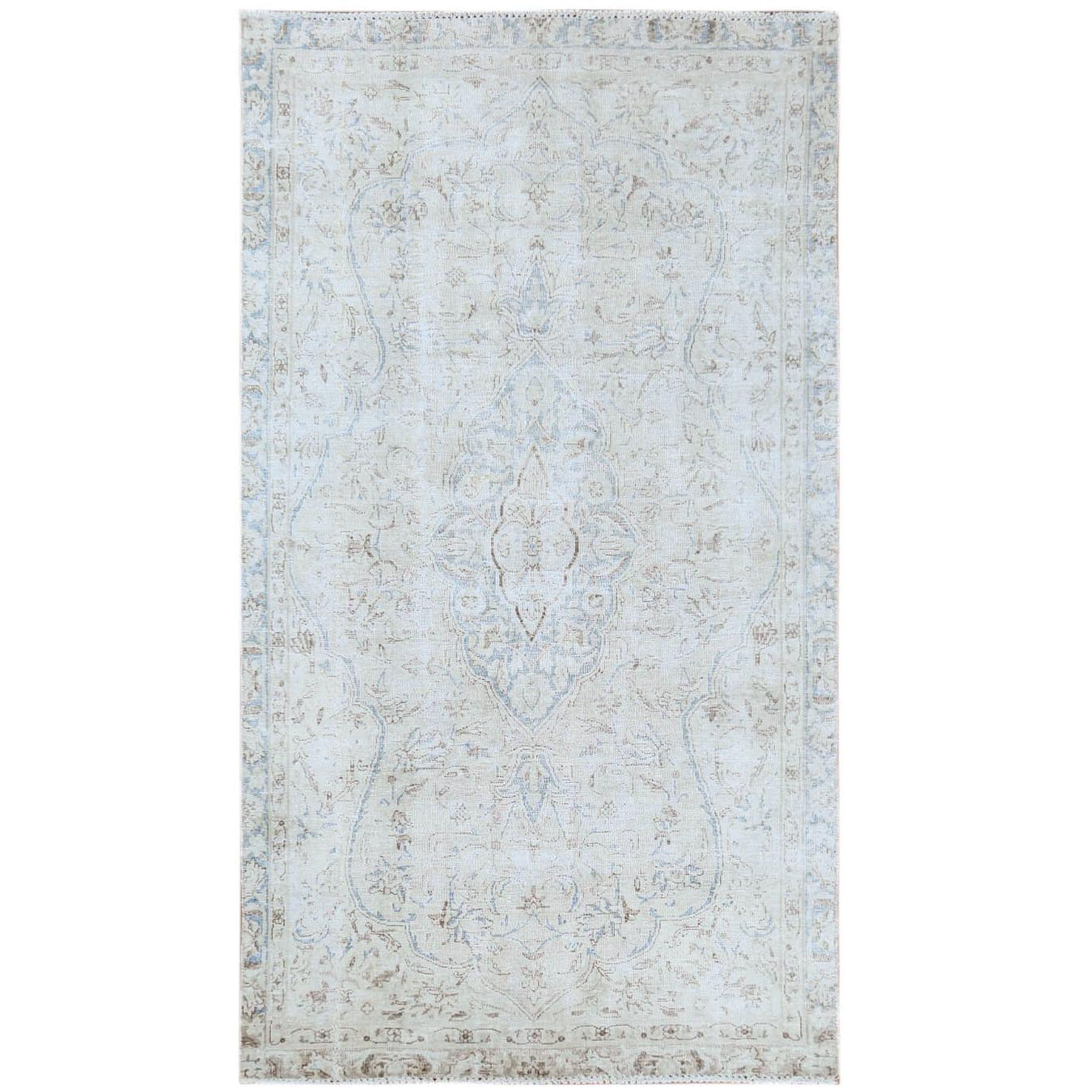 "3'9""x6'7"" Vintage Beige Persian Kerman With Flower Design Sheared Low Pile Clean Hand Knotted Pure Wool Oriental Rug"