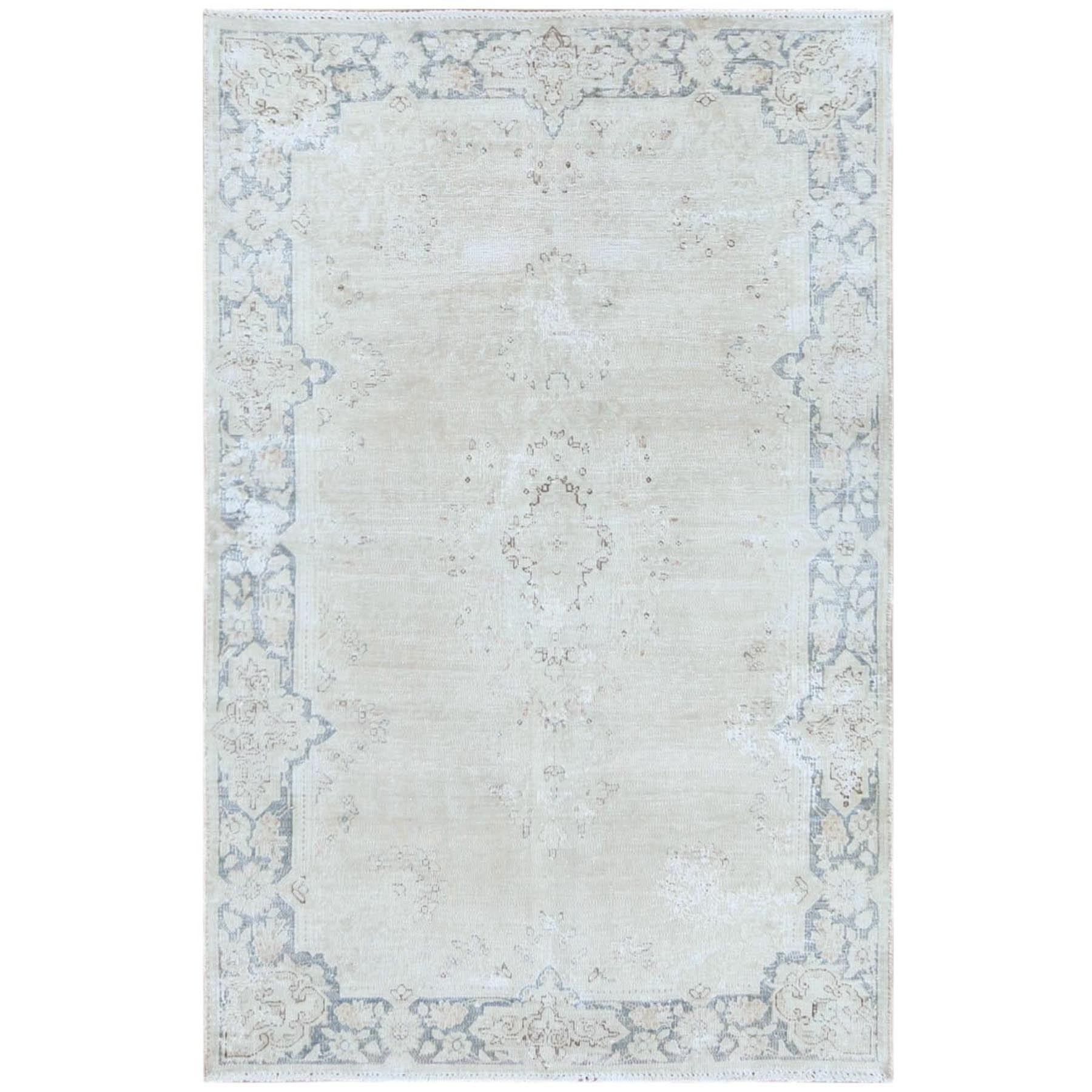 "3'8""x5'9"" Bohemian Washed Out Beige Old Persian Kerman With Medallion Design Cropped Thin Hand Knotted Clean Pure Wool Oriental Rug"