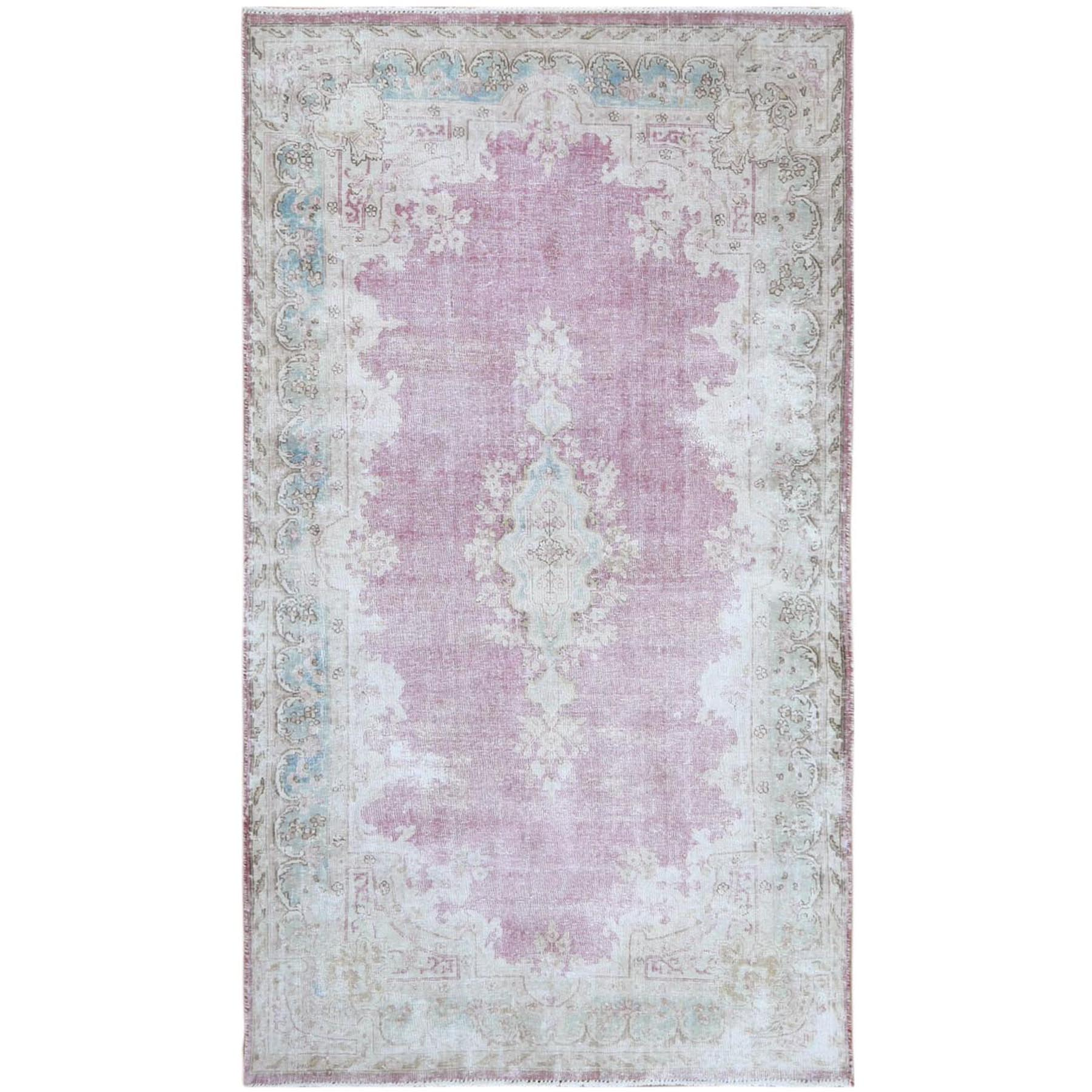 "3'9""x6'8"" Washed Out Pink Vintage Persian Kerman With Medallion Design Worn Down Beautiful Hand Knotted Pure Wool Oriental Rug"