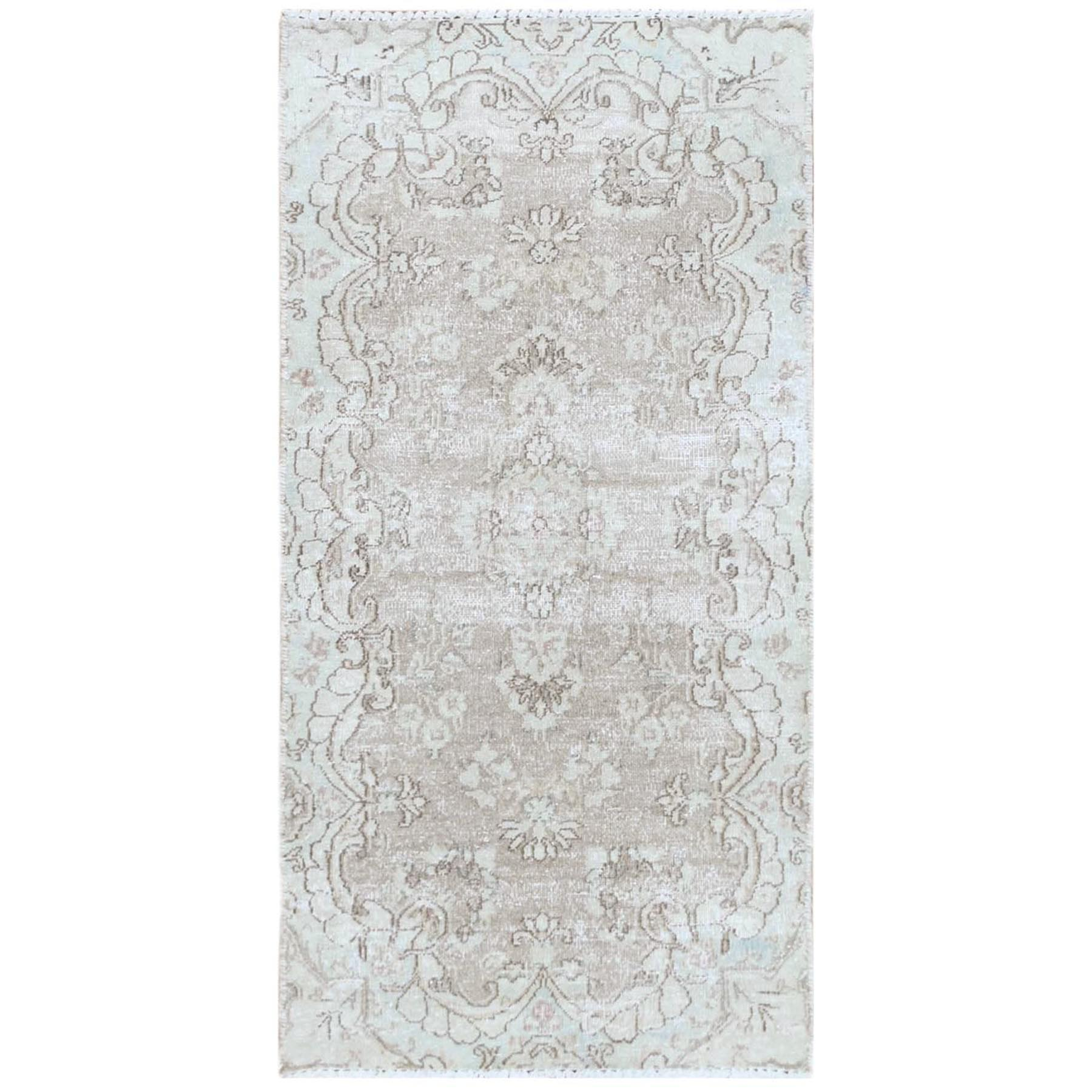"2'x3'9"" White Wash Old Persian Kerman With Medallion Design Cropped Thin Hand Knotted Clean Natural Wool Oriental Rug"
