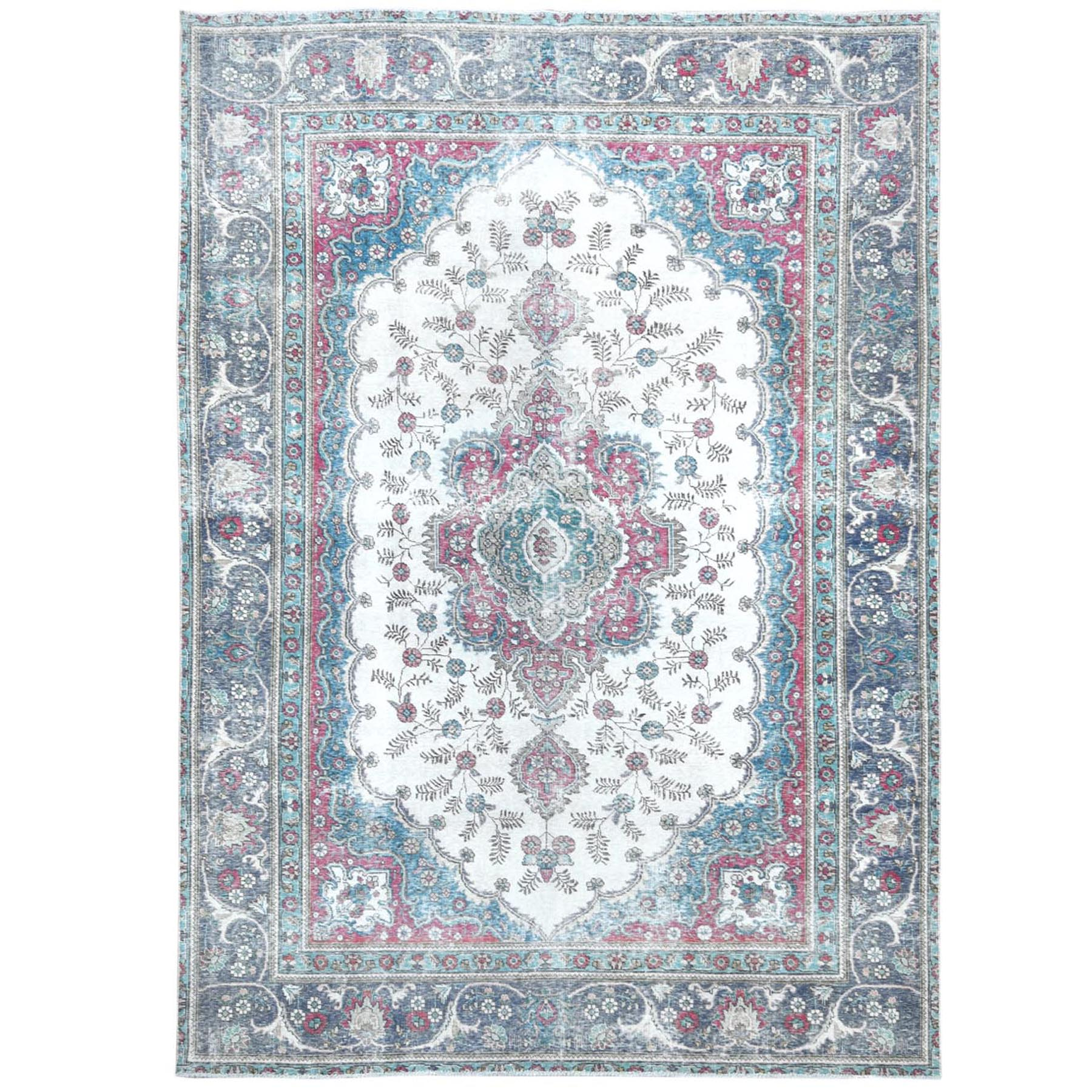 """7'10""""x11' Vintage Ivory With Fresh Colors Persian Tabriz Worn Down Clean Hand Knotted Pure Wool Oriental Rug"""