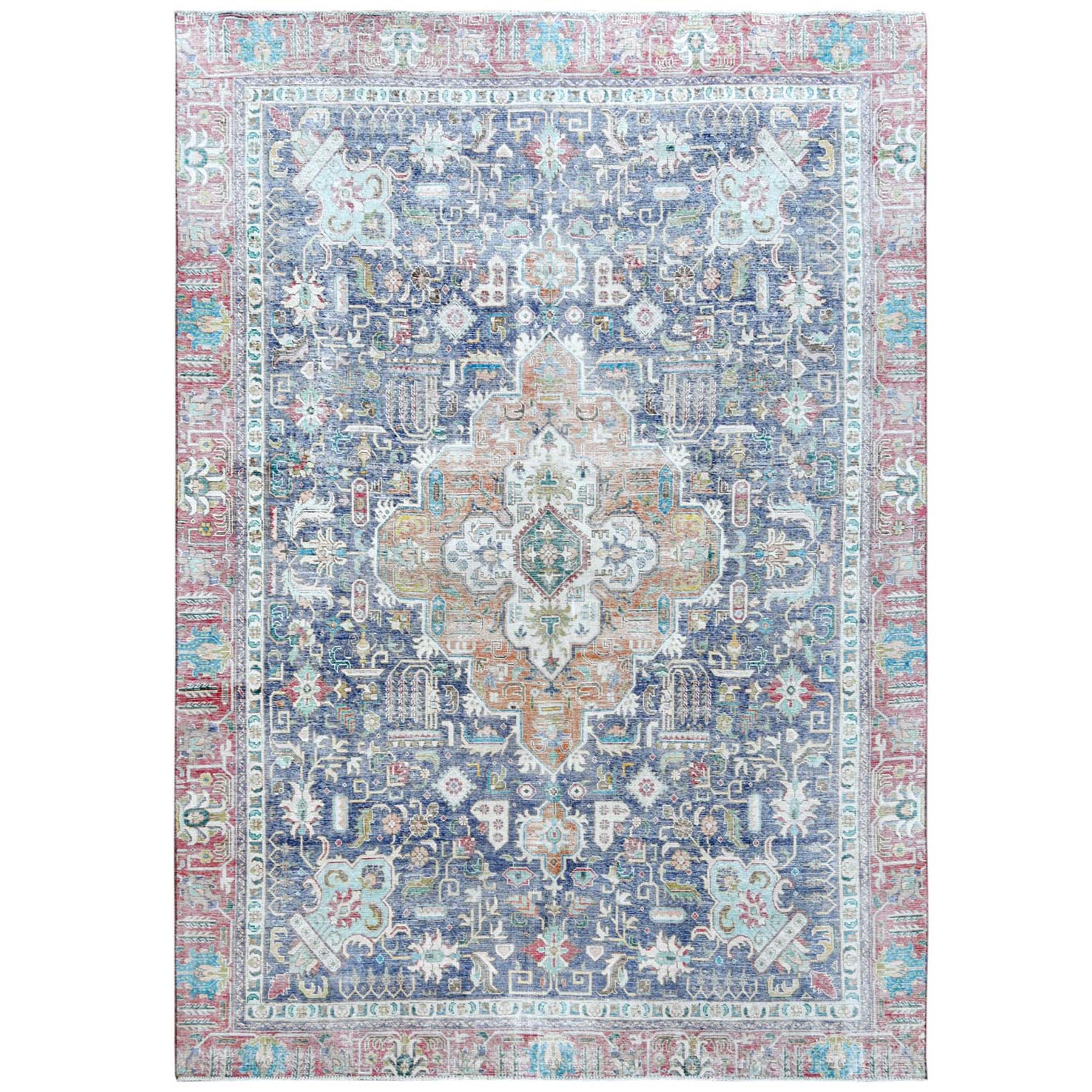 "8'8""x12'1"" Semi Antique Navy Blue Persian Tabriz With Pop Of Color Distressed Look Hand Knotted Organic Wool Oriental Rug"
