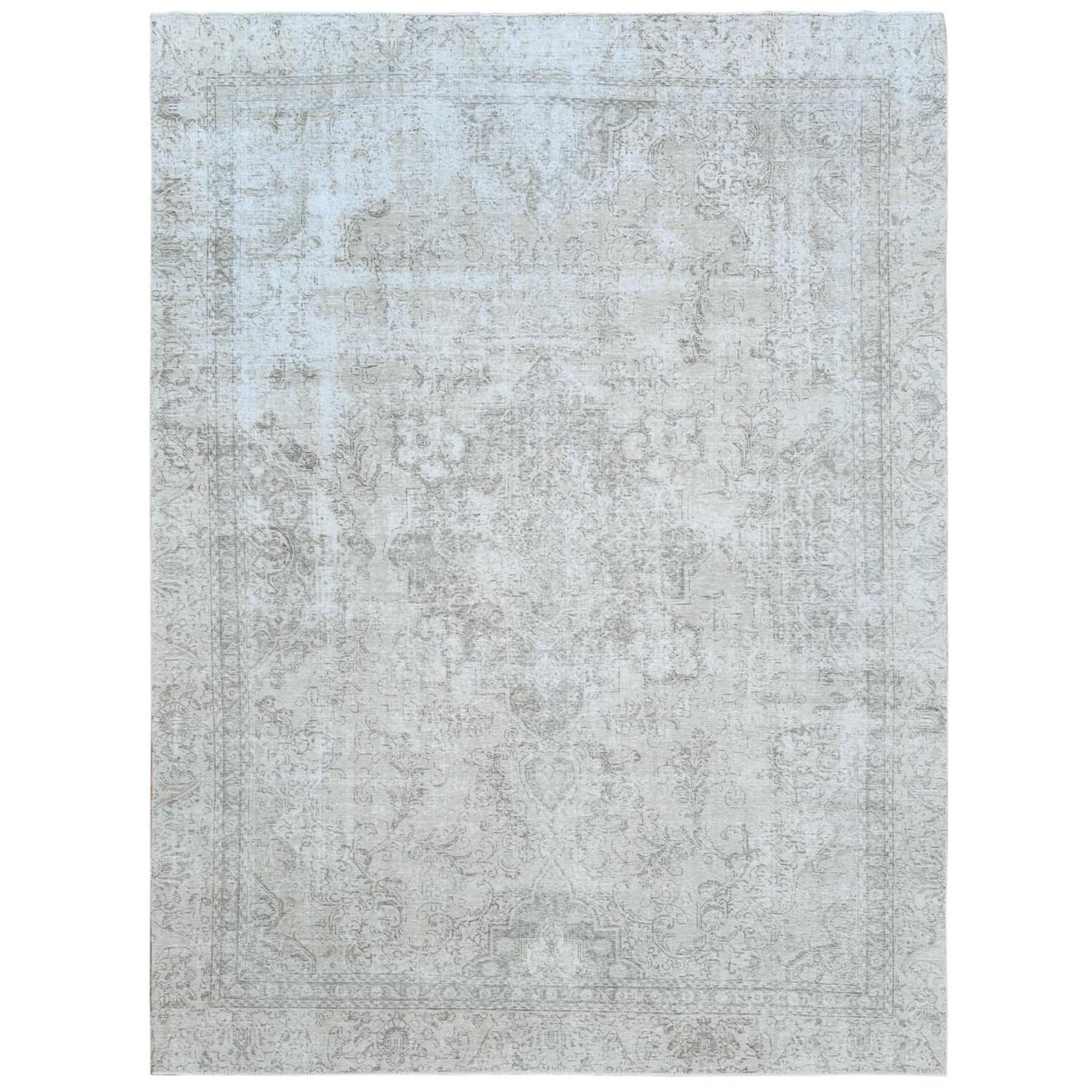 """9'x12'3"""" Semi Antique Ivory Persian Tabriz Worn Down Shabby Chic Hand Knotted Natural Wool Oriental Rug"""