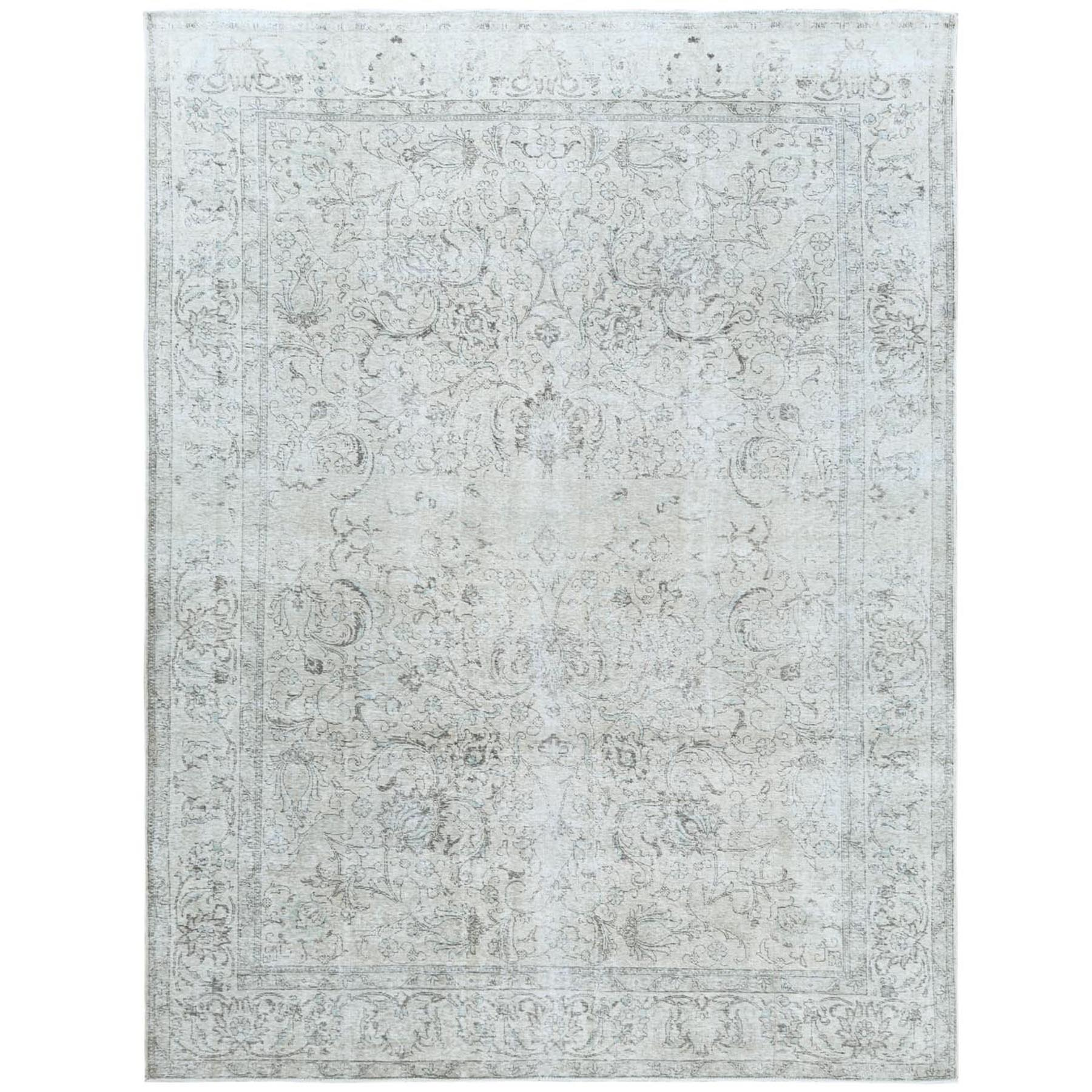 "9'7""x12'9"" White Wash Vintage Persian Tabriz Sheared Down Pile Clean Hand Knotted Pure Wool Oriental Rug"