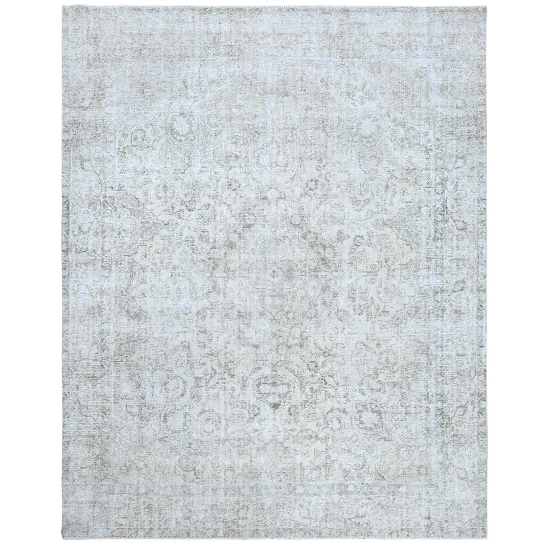 "10'4""x12'9"" Washed Out Ivory Semi Antique Persian Tabriz Distressed Look Clean Hand Knotted Velvety Wool Oriental Rug"