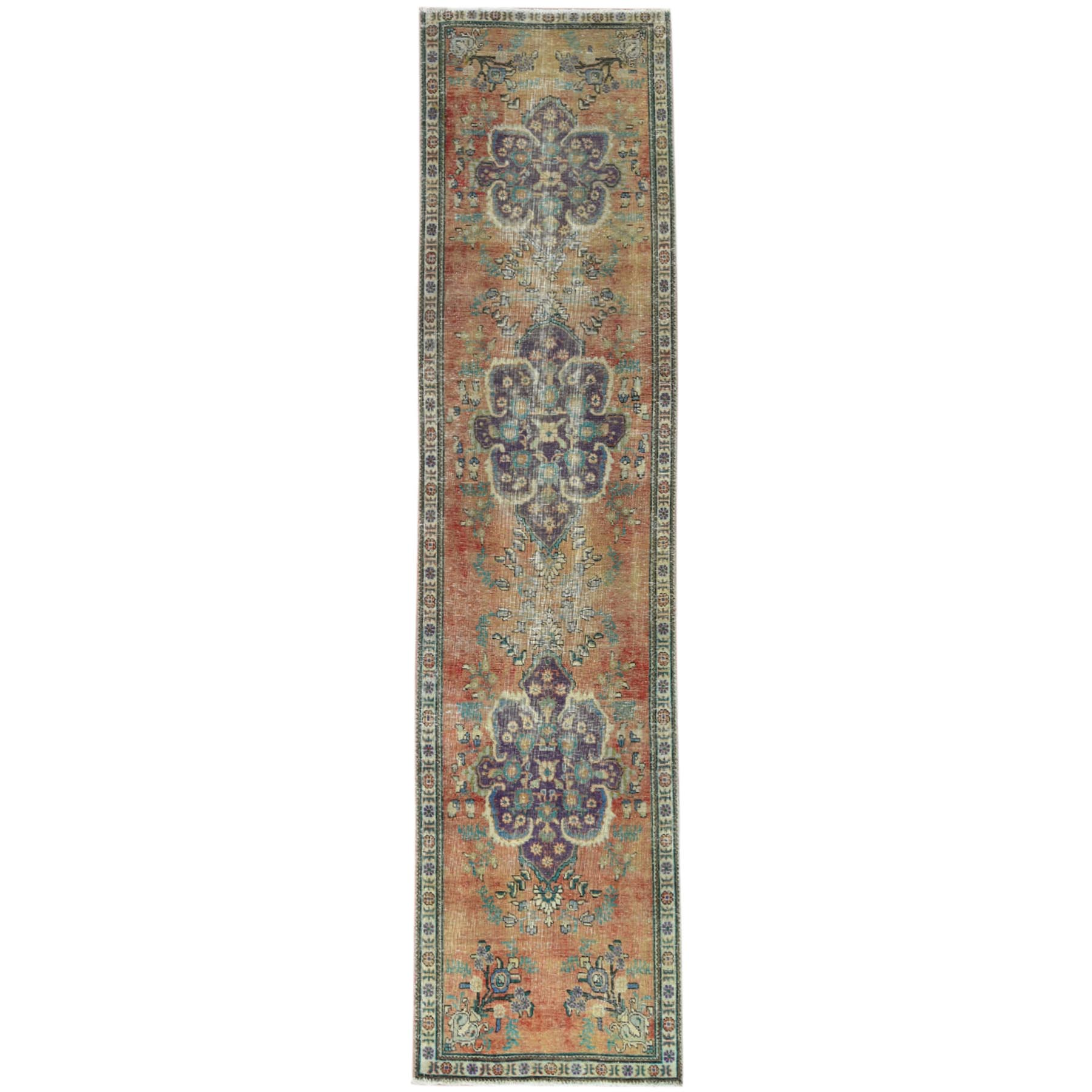 "3'1""x12'6"" Vintage Copper Brown Persian Tabriz Sheared Down Pile Clean Hand Knotted Natural Wool Oriental Runner Rug"