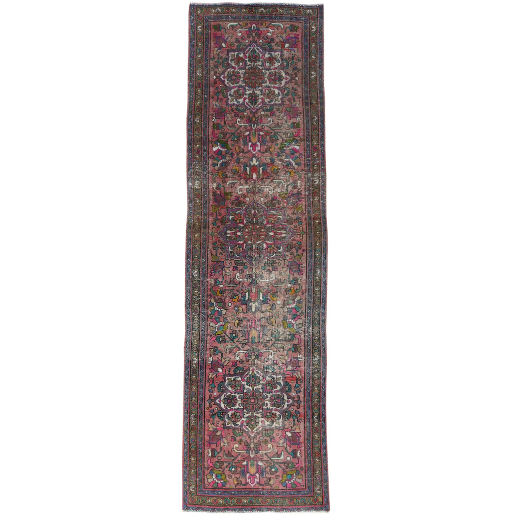 "3'1""x11'1"" Deep Red Vintage Persian Tabriz Sheared Down Pile Clean Hand Knotted Natural Wool Oriental Runner Rug"