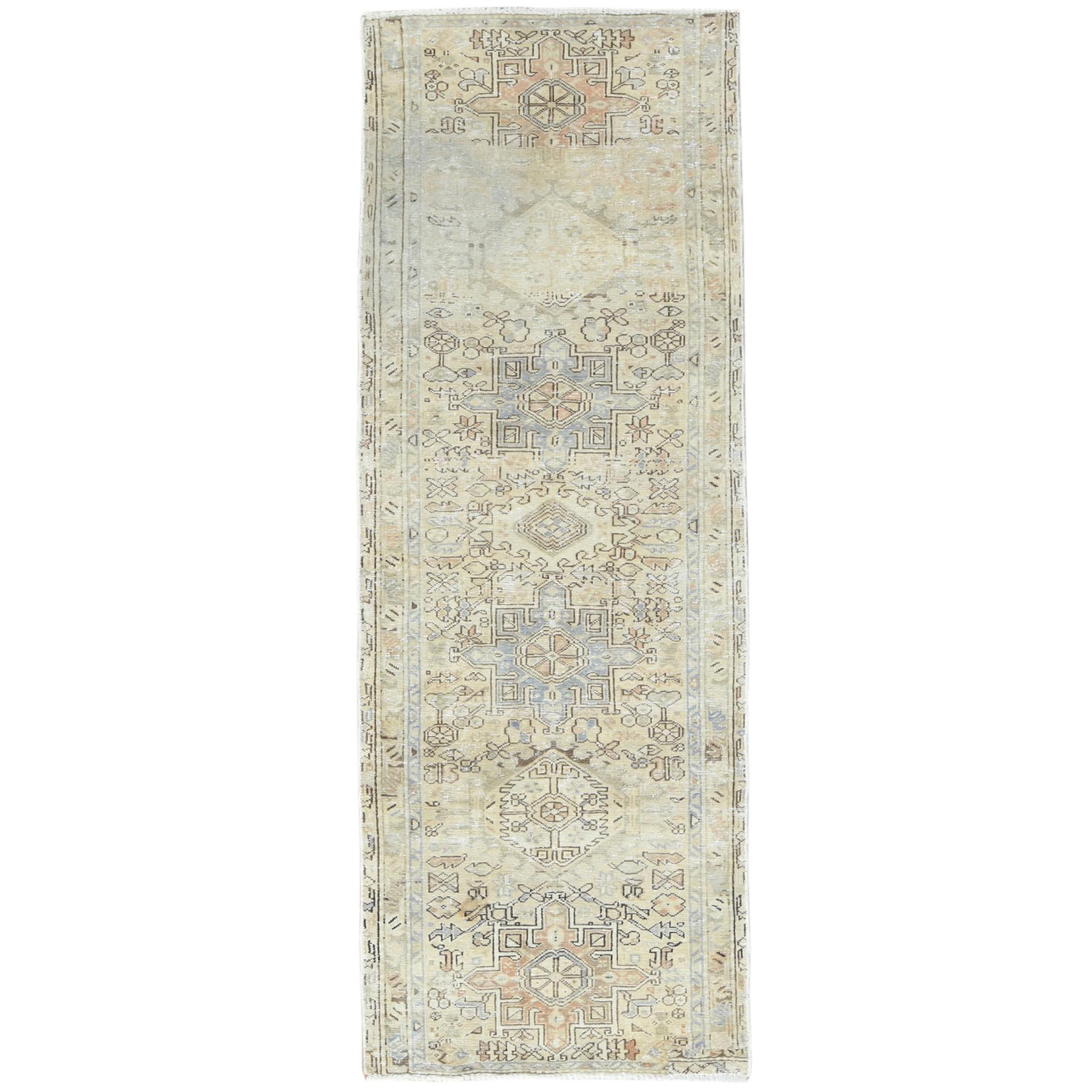 "3'4""x9'1"" Vintage Persian Karajeh With Faded Earth Tone Colors Distressed Look Clean Pure Wool Hand Knotted Oriental Runner Rug"