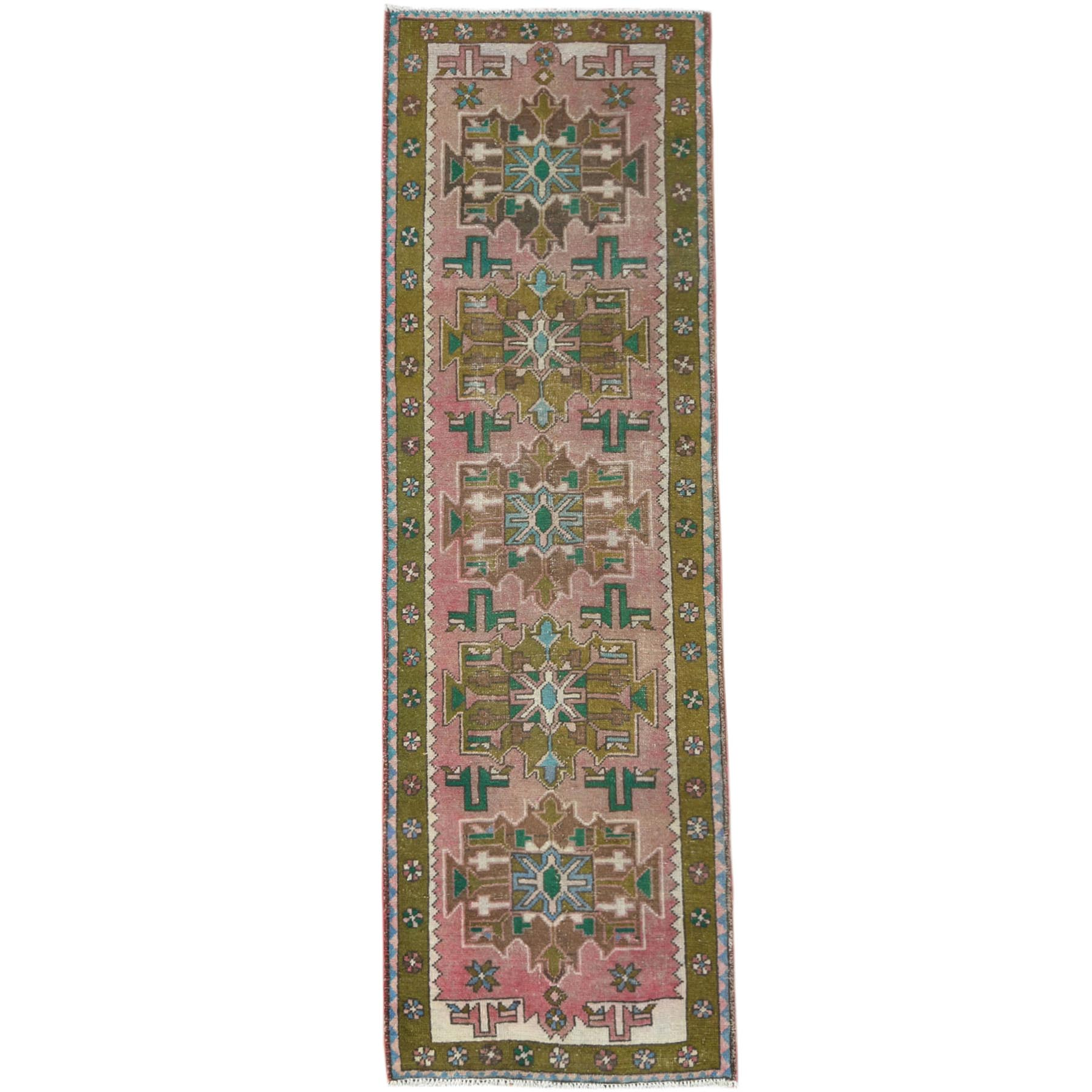 "3'2""x9'6"" Vintage Pink Persian Karajeh Cropped Thin Pile Clean Hand Knotted Organic Wool Oriental Runner Rug"