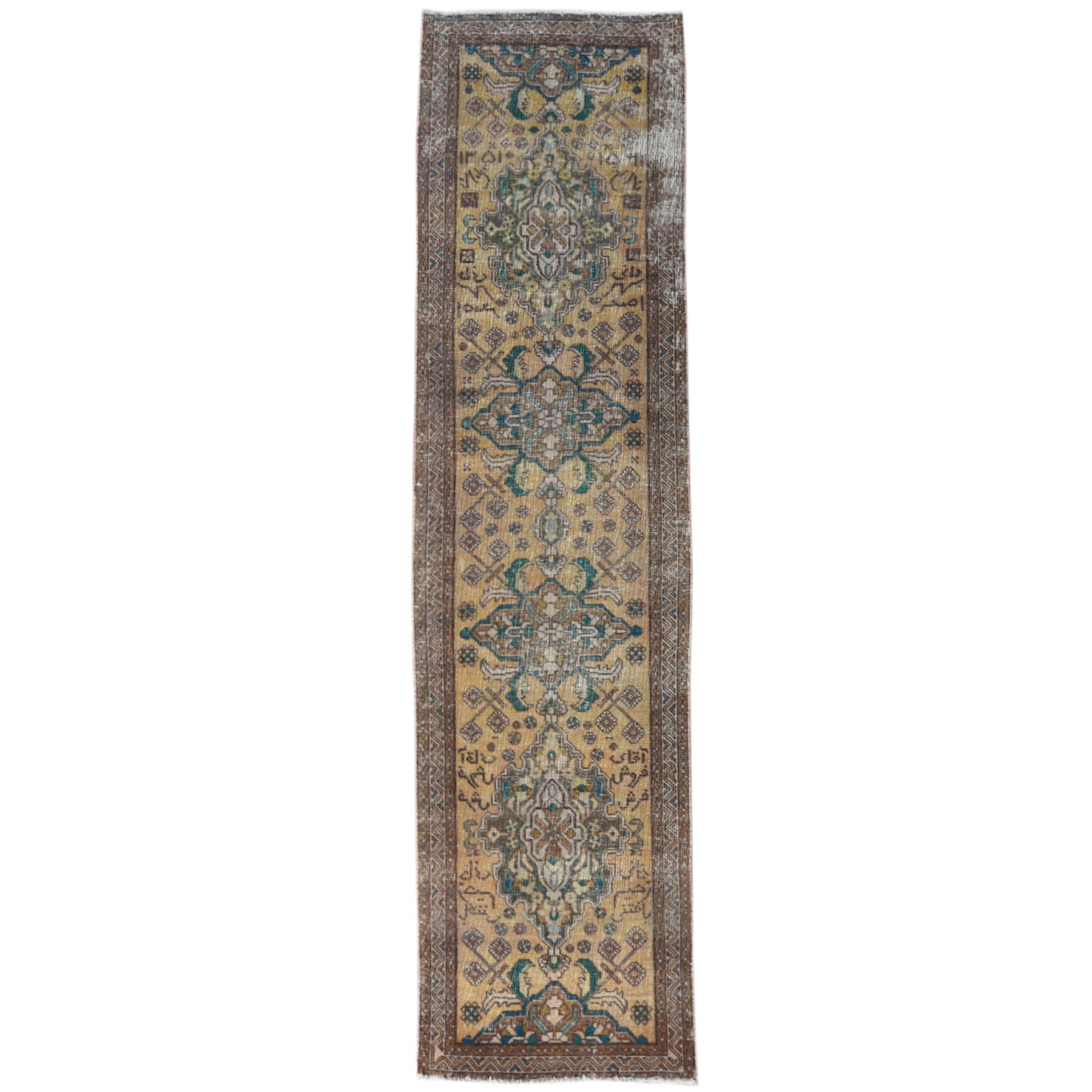 "3'2""x12'2"" Yellow Persian Tabriz Vintage Worn Down Clean Hand Knotted Pure Wool Oriental Runner Rug"