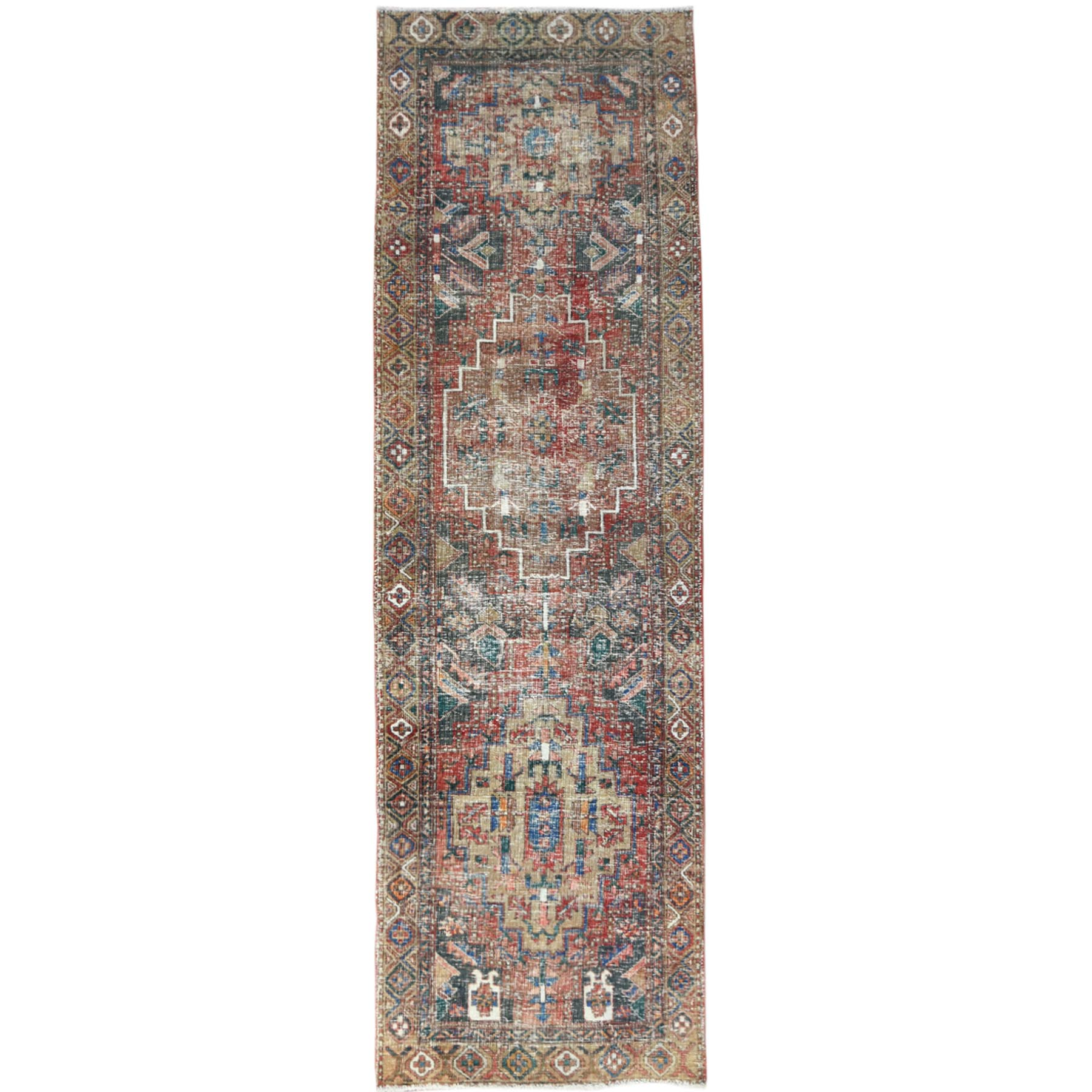"3'4""x10'9"" Bohemian Tomato Red Vintage And Worn Down Persian Heriz Clean Hand Knotted Organic Wool Oriental Runner Rug"