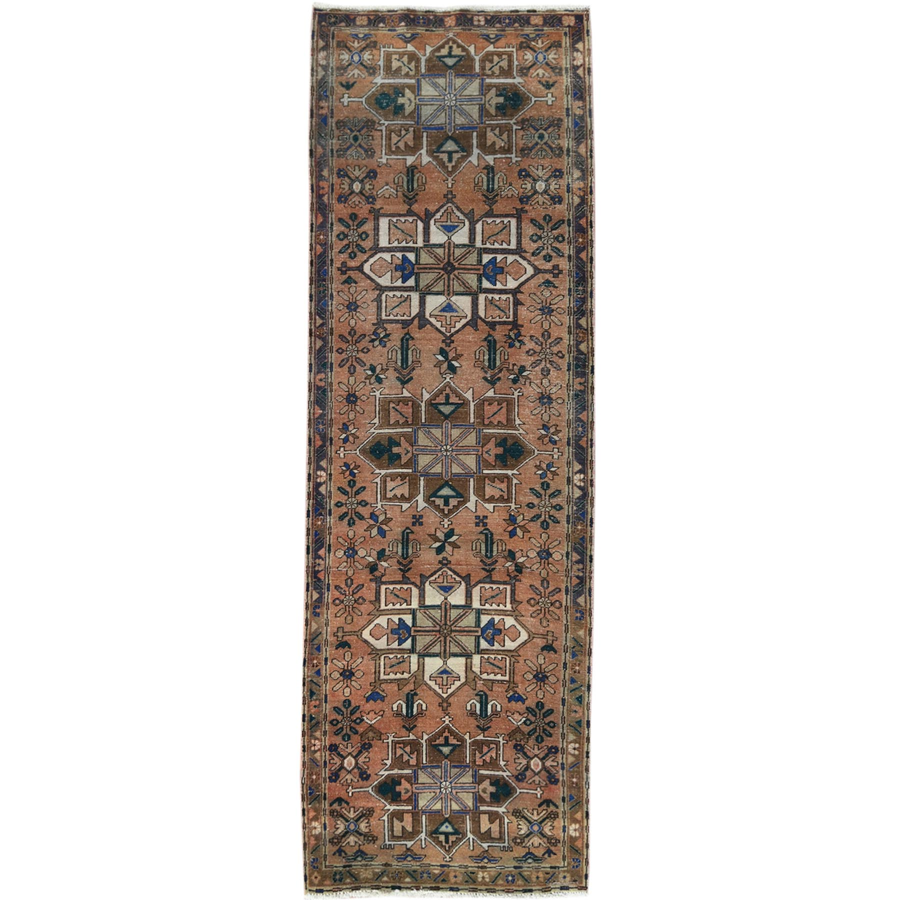 "3'4""x10' Vintage And Worn Down Brown Persian Heriz Clean Hand Knotted Organic Wool Oriental Runner Rug"
