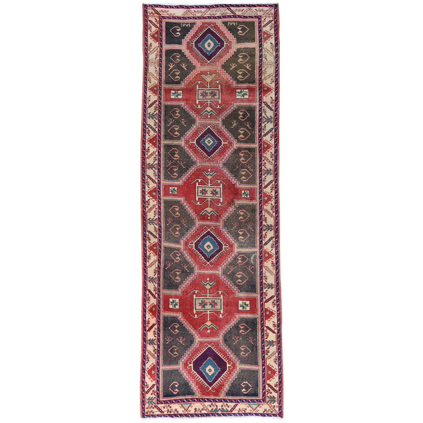 "3'9""x10'9"" Semi Antique Red Northwest Persian Heriz With Geometric Design Cropped Thin Pile Clean Hand Knotted Pure Wool Oriental Runner Rug"