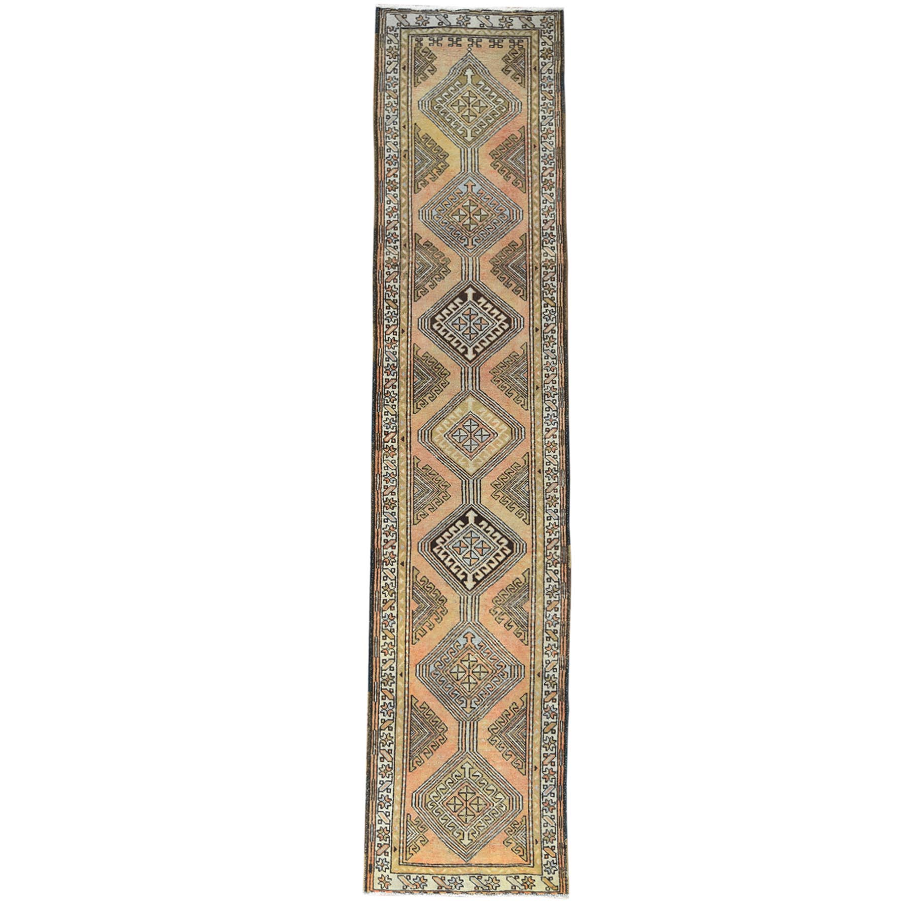"2'10""x12'4"" Light Peach Vintage And Worn Down Persian Hamadan Clean Hand Knotted Natural Wool Oriental Runner Rug"