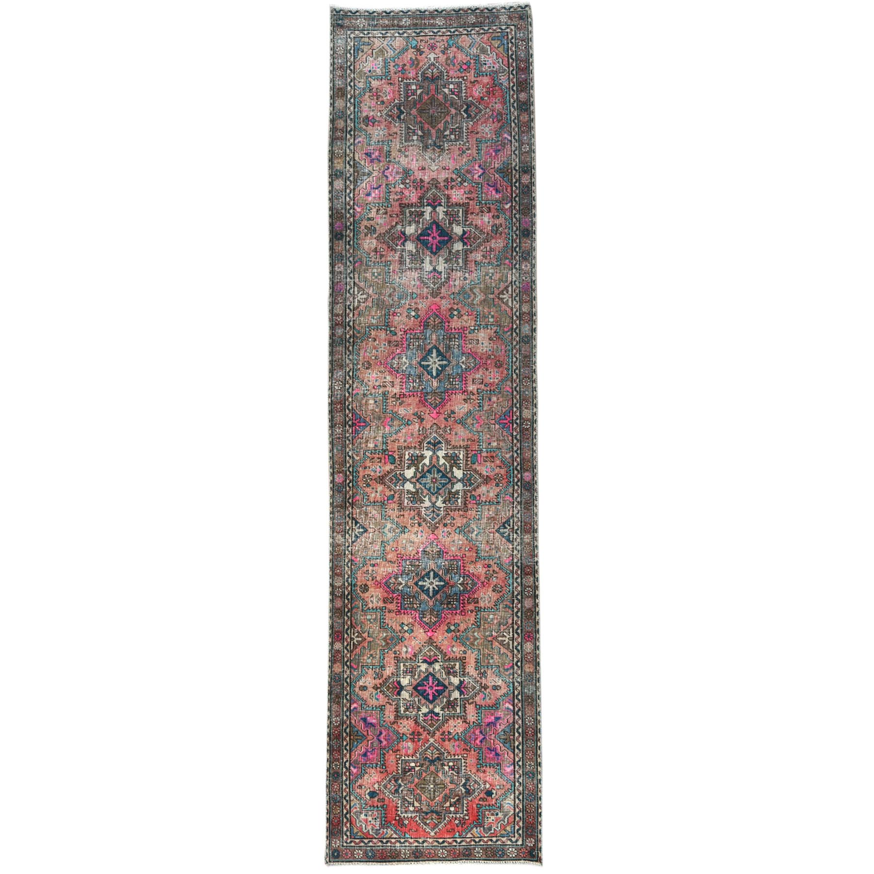 "3'1""x12'10"" Deep Red Persian Tabriz Vintage And Worn Down Clean Hand Knotted Organic Wool Oriental Runner Rug"