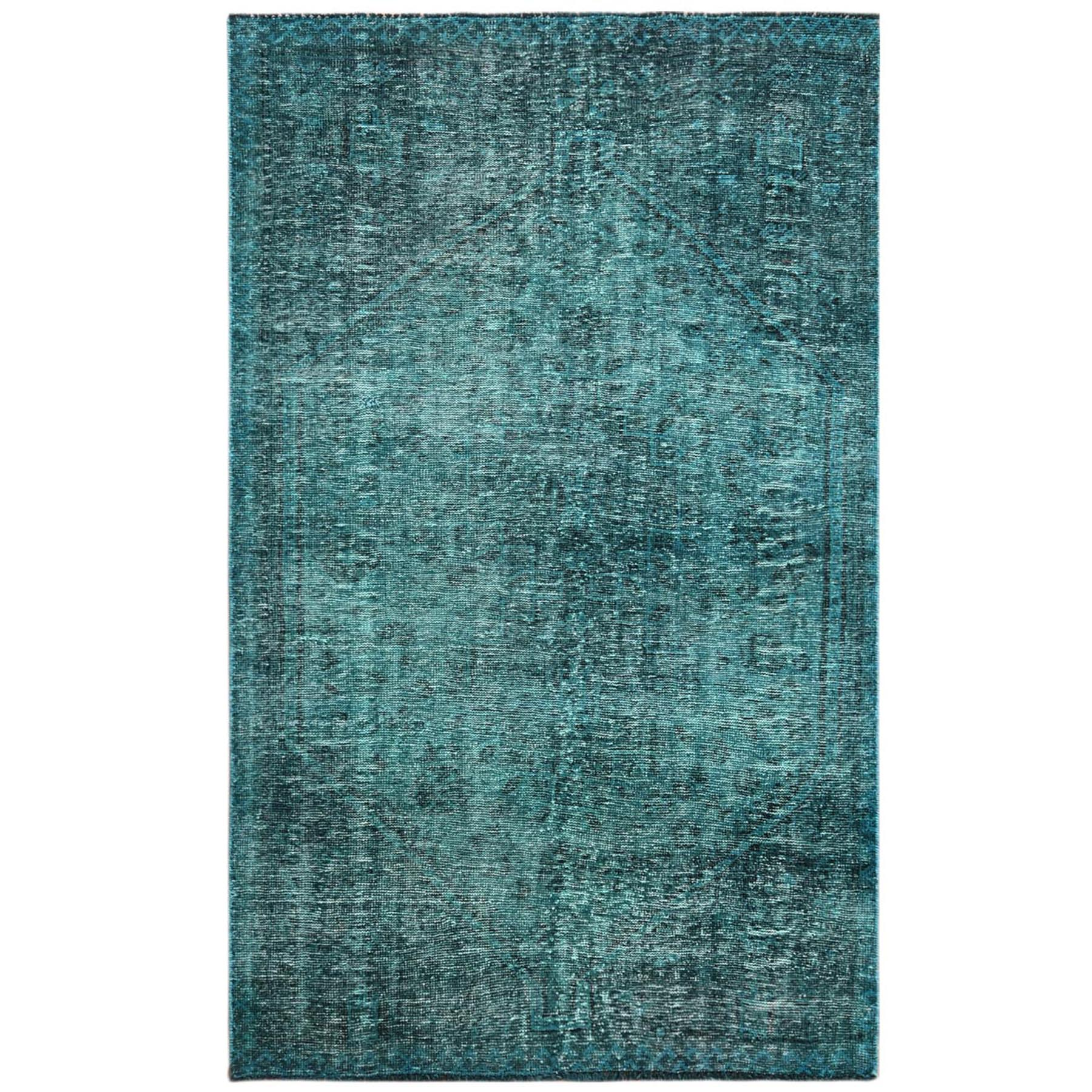 Fetneh Collection And Vintage Overdyed Collection Hand Knotted Teal Rug No: 1121104