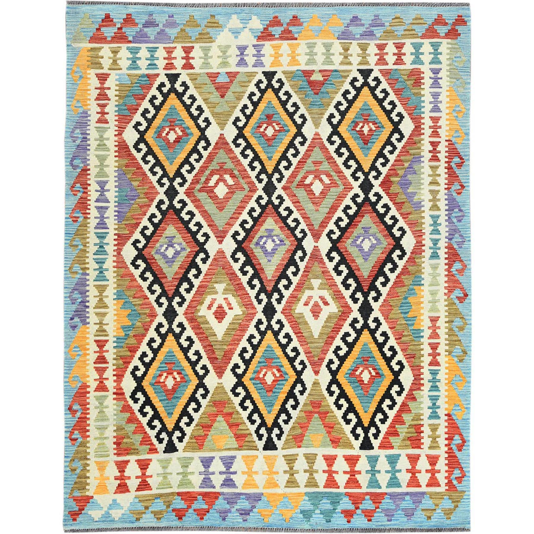 "5'1""x6'5"" Colorful Geometric Design Afghan Kilim Reversible Pliable Wool Hand Woven Oriental Rug"