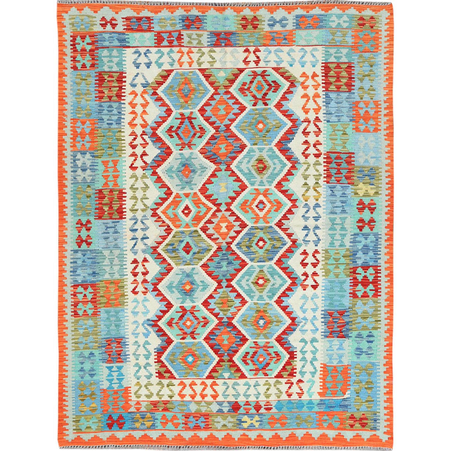 "5'1""x6'8"" Red Afghan Kilim In A Colorful Palette Reversible Vibrant Wool Hand Woven Oriental Rug"